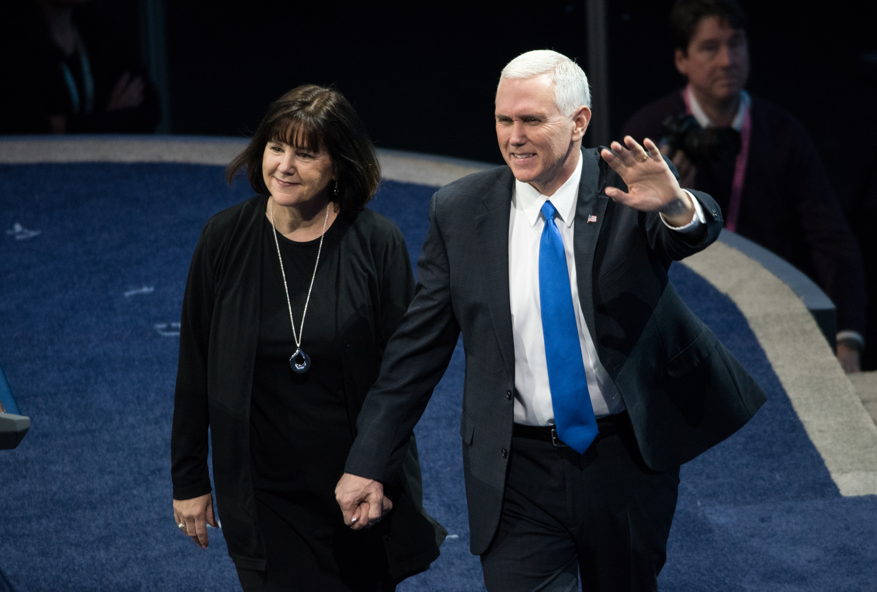 U.S. Vice President Mike Pence, right, and his wife Karen Pence are introduced at the the AIPAC 2017 Convention on March 26, 2017, in Washington, D.C.