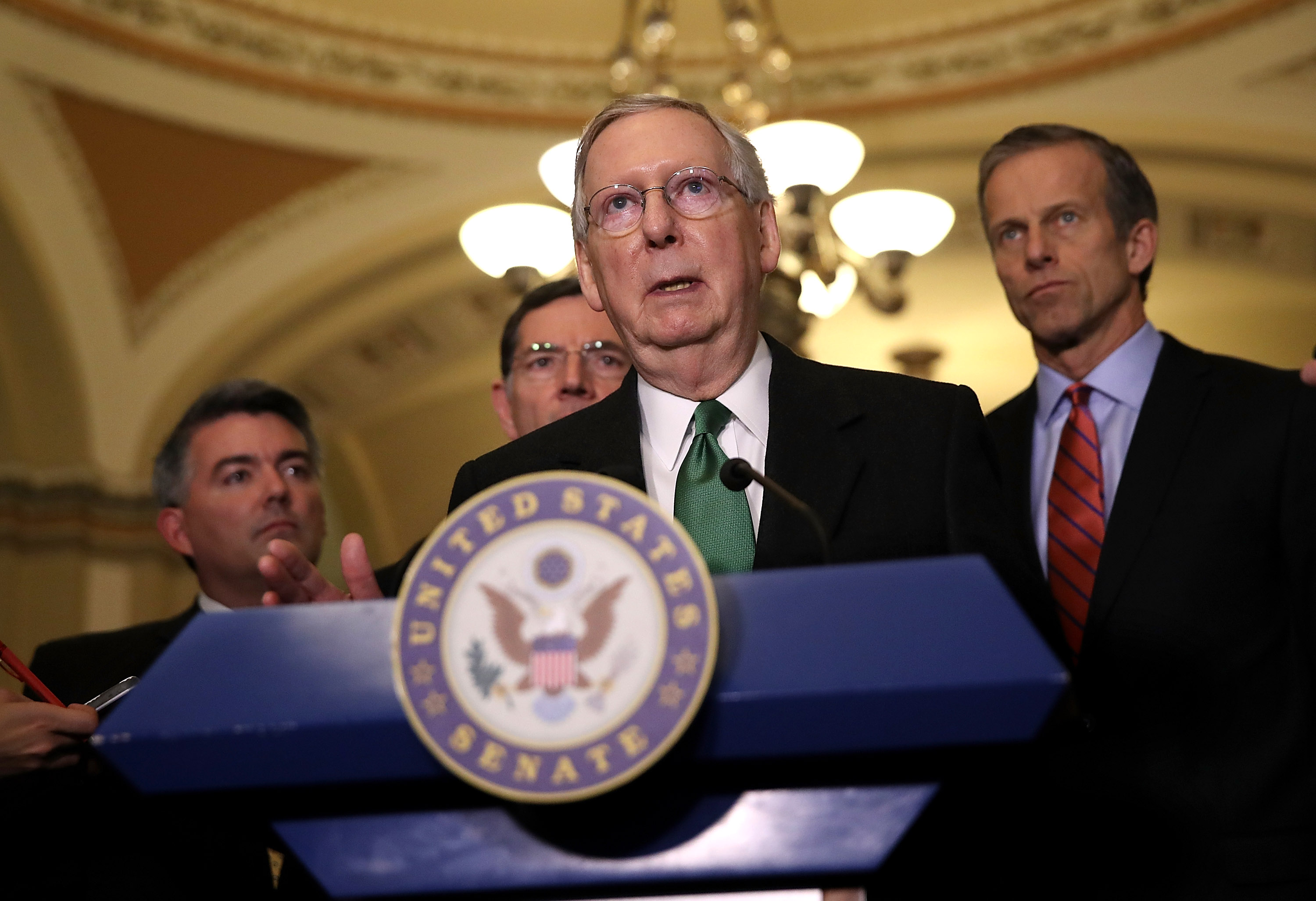 Senate Majority Leader Mitch McConnell (R-KY) speaks to reporters during a news conference on Capitol Hill following a policy lunch on March 7, 2017 in Washington, DC.
