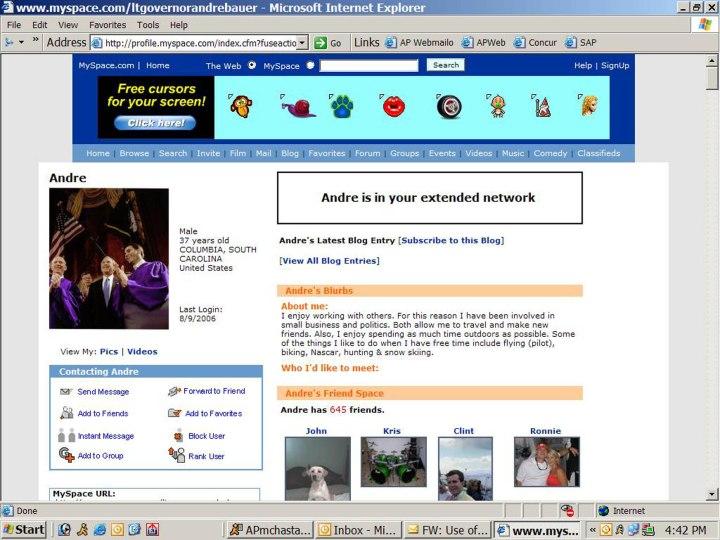 Andre Bauer's MySpace