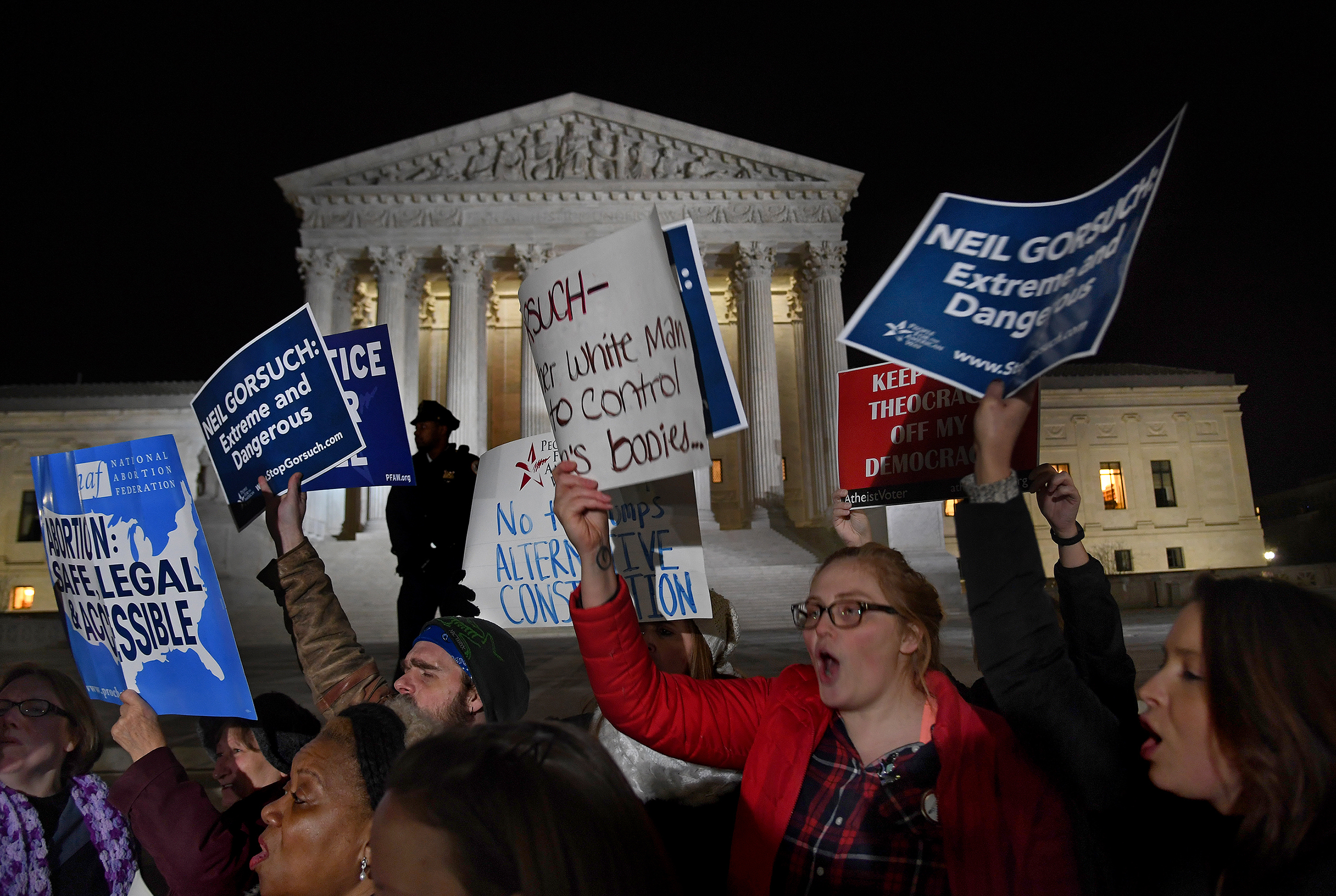 Reaction to President  Trump's Gorsuch nomination announcement was swift on the steps of the Supreme Court by both sides of the abortion issue, Washington, D.C., Jan. 31, 2017.