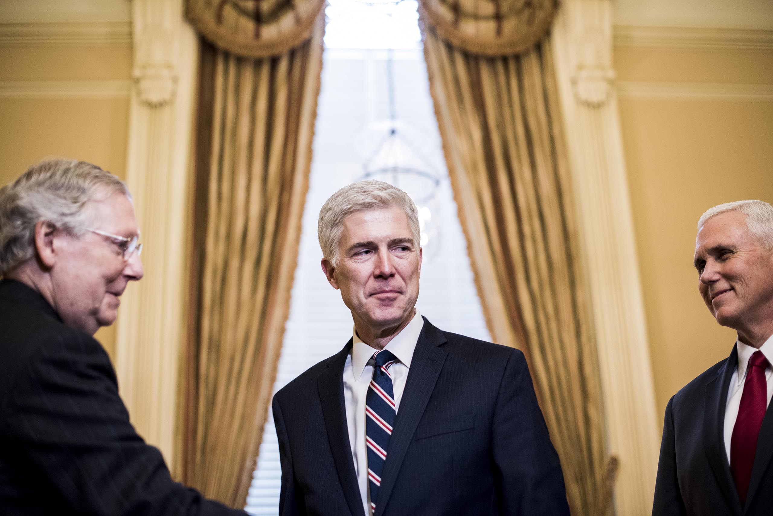 Gorsuch with Senate Majority Leader Mitch McConnell (R-TN) and Vice President Mike Pence,on Capitol Hill in Washington, D.C., Feb. 1, 2017.