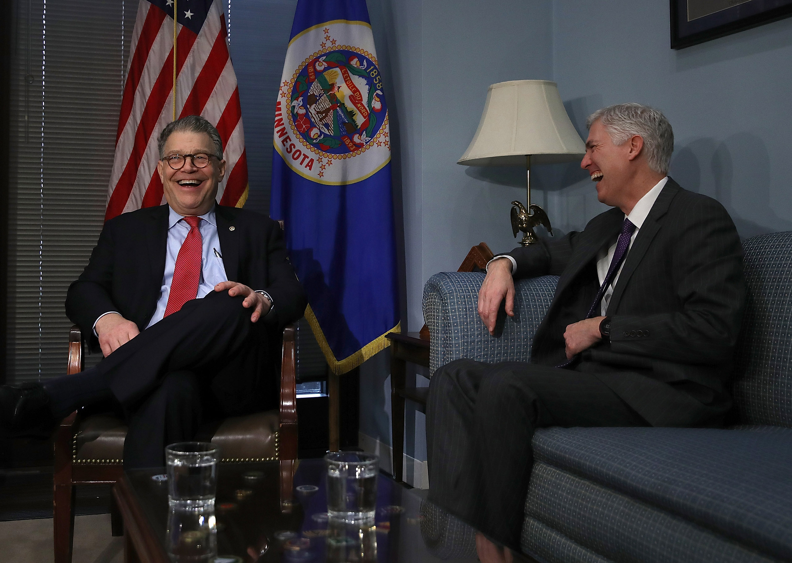 U.S. Supreme Court nominee Judge Neil Gorsuch (R) meets with U.S. Sen. Al Franken (D-MN) in Franken's office on Capitol Hill March 7, 2017 in Washington, D.C.