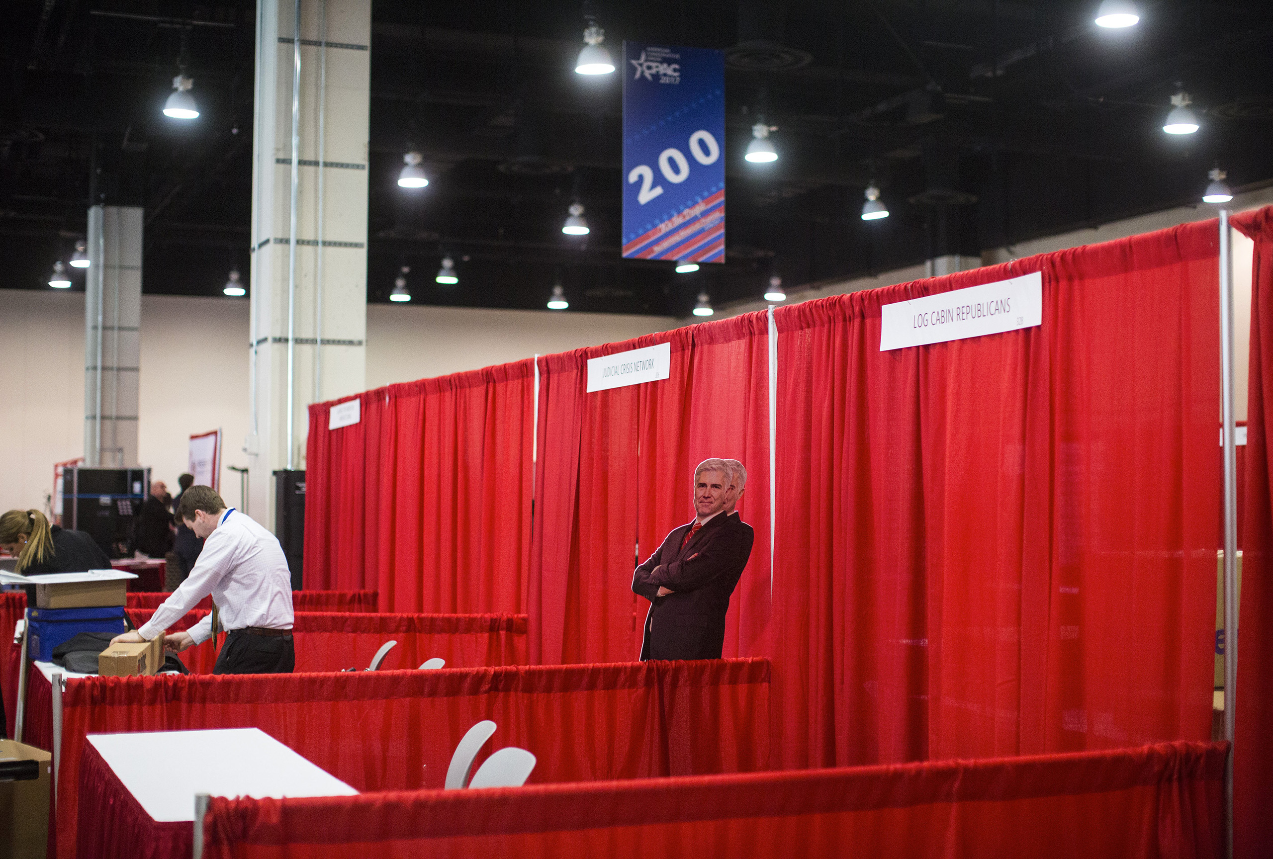 Cardboard cutouts of Judge Gorsuch at the Conservative Political Action Conference in National Harbor, Md., Feb. 22, 2017.