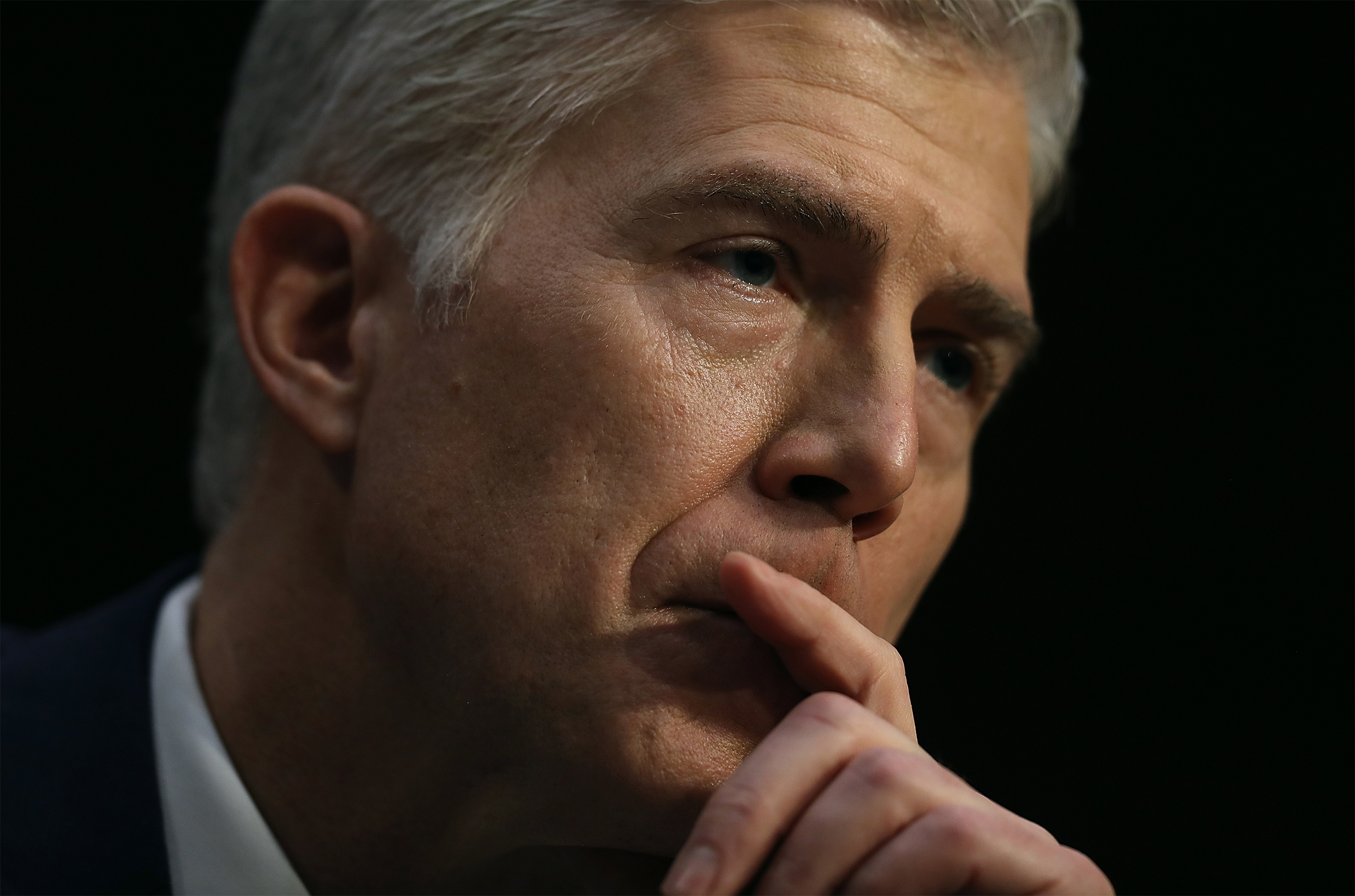 Judge Neil Gorsuch looks on during the first day of his Supreme Court confirmation hearing before the Senate Judiciary Committee in the Hart Senate Office Building on Capitol Hill March 20, 2017 in Washington, DC.
