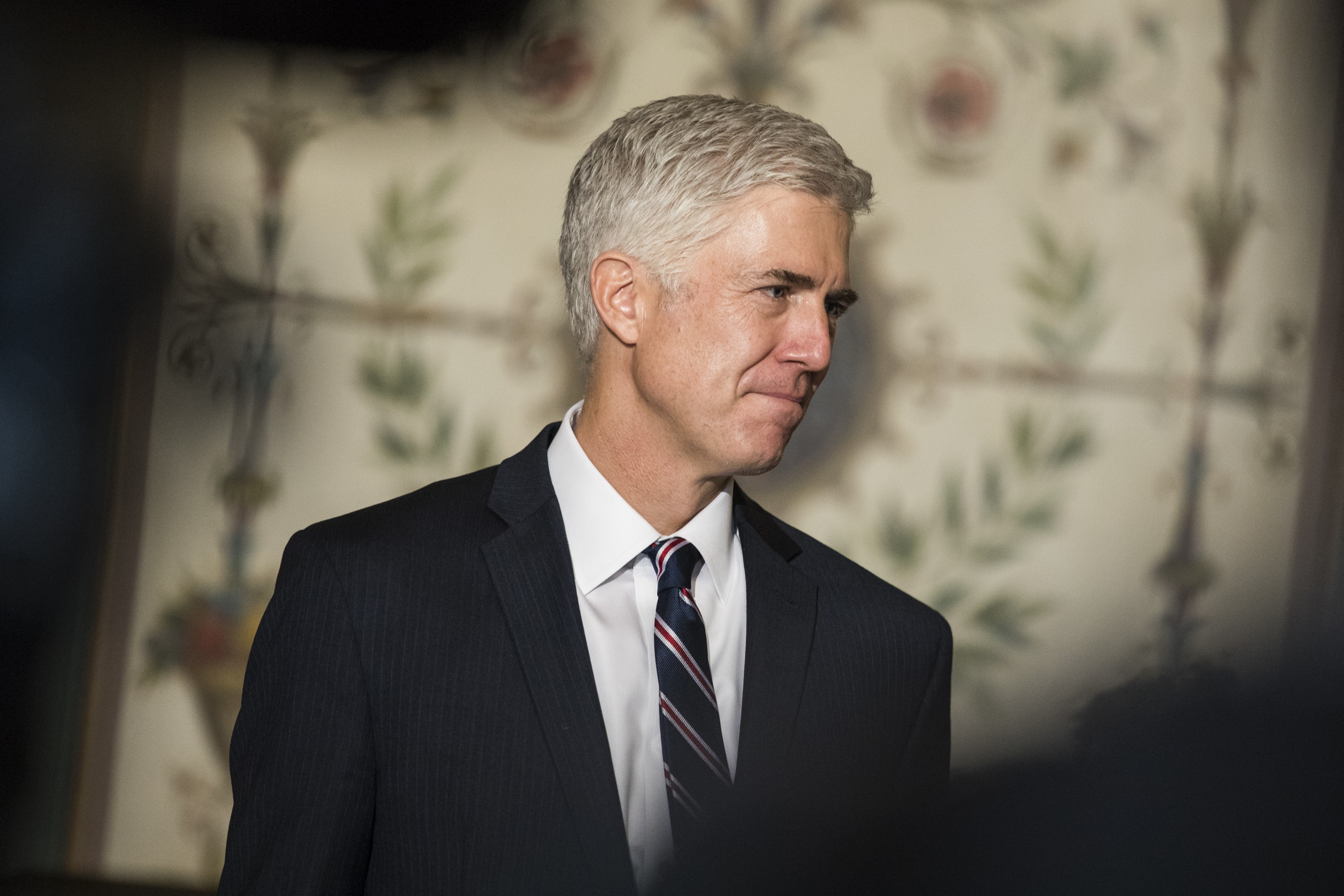 Judge Neil Gorsuch, President Donald Trump's nominee for the U.S. Supreme Court, meets with lawmakers at the U.S. Capitol in Washington, D.C., on Feb. 1, 2017.