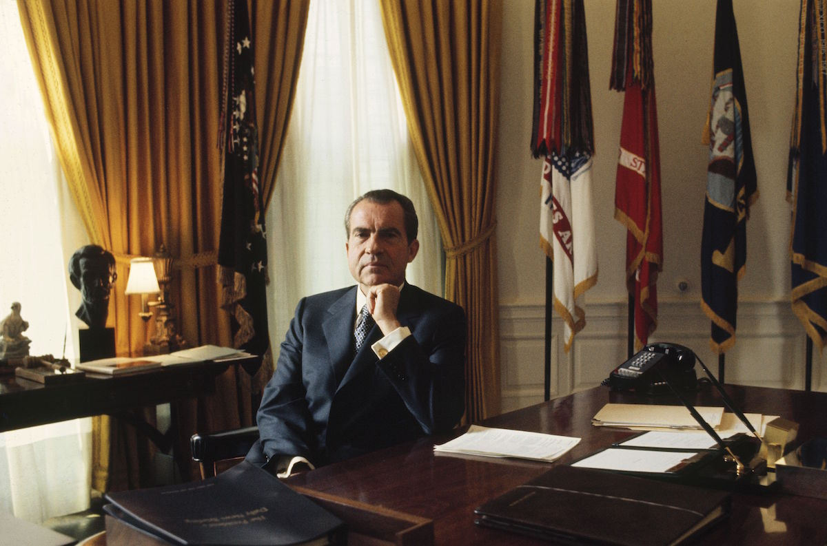 Richard Nixon in the Oval Office at the White House in the 1970s.