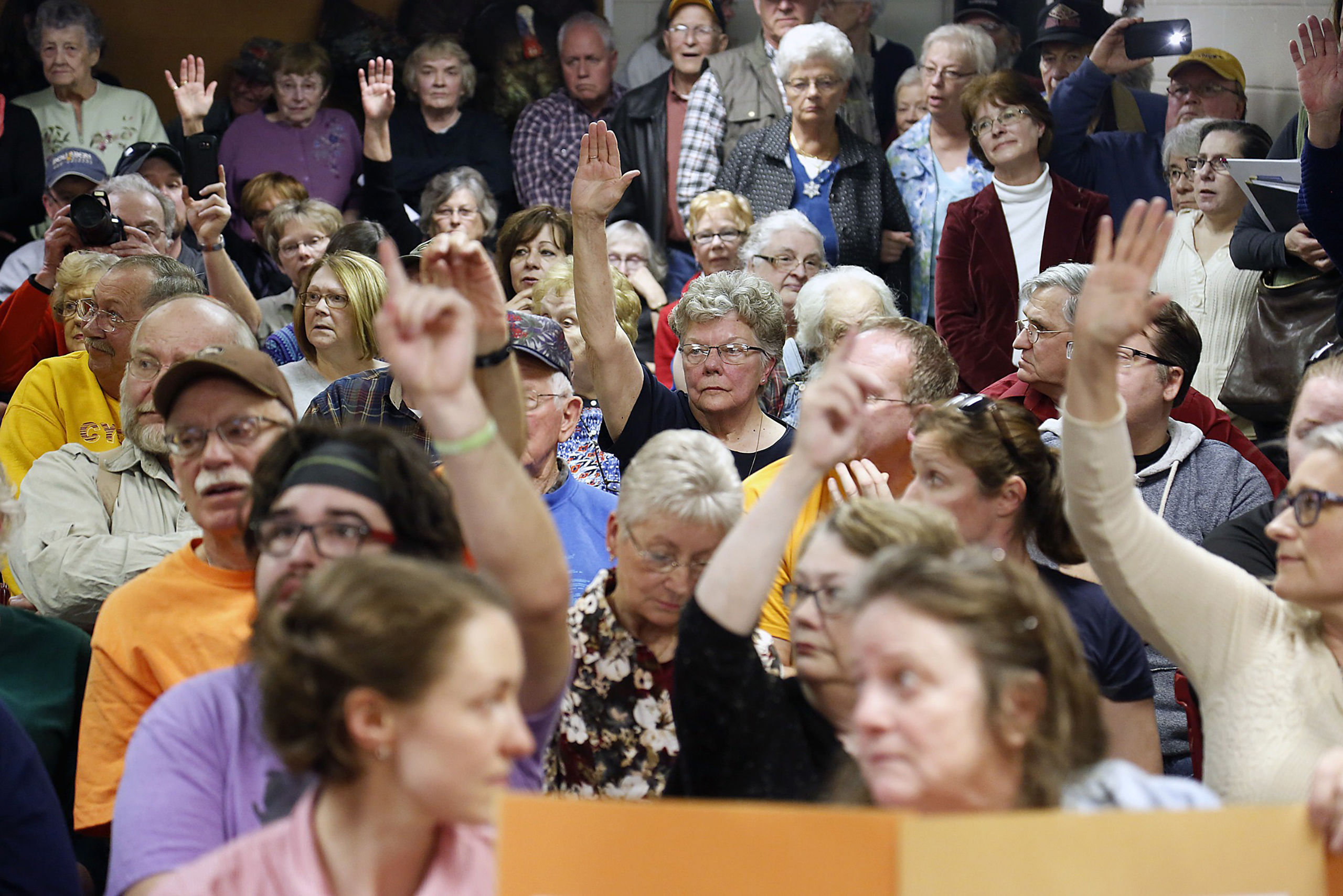 At town halls across the country, including this one for Senator Chuck Grassley in Garner, Iowa, on Feb. 21, voters have raised concerns about losing benefits under plans to repeal and replace Obamacare.