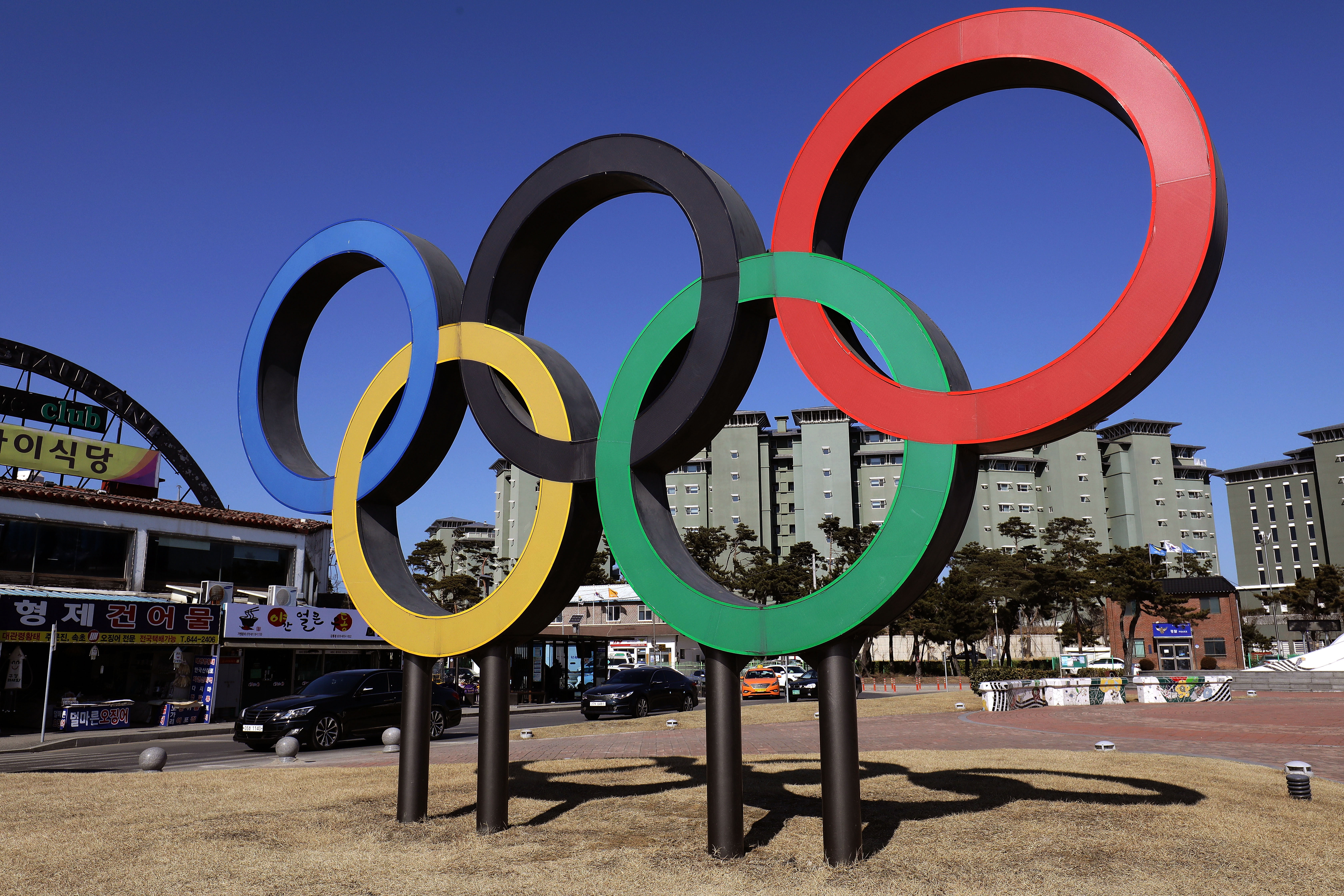 The Olympic rings is seen in Gangneung town, near the venue for the Speed Skating, Figure Skating and Ice Hockey ahead of PyeongChang 2018 Winter Olympic Games on February 8, 2017 in Gangneung, South Korea.