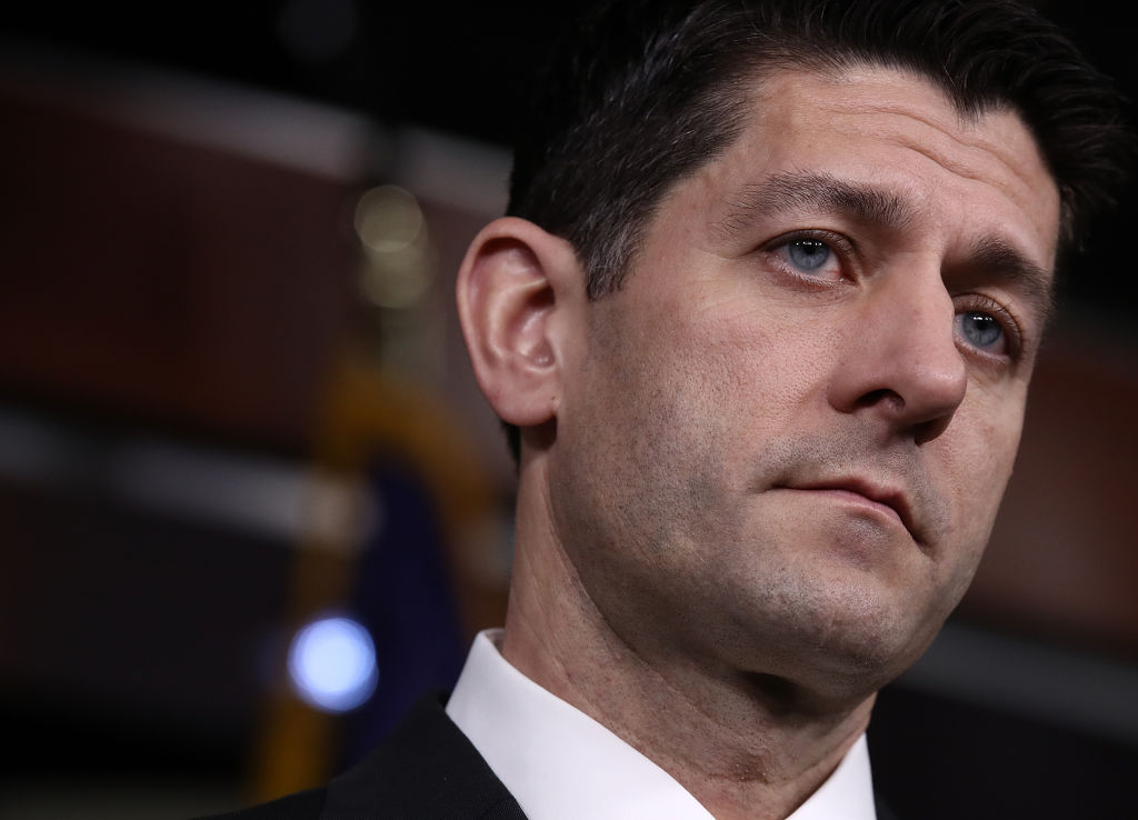 Speaker of the House Paul Ryan (R-WI) answers questions at the U.S. Capitol during a press conference March 2, 2017 in Washington, DC.