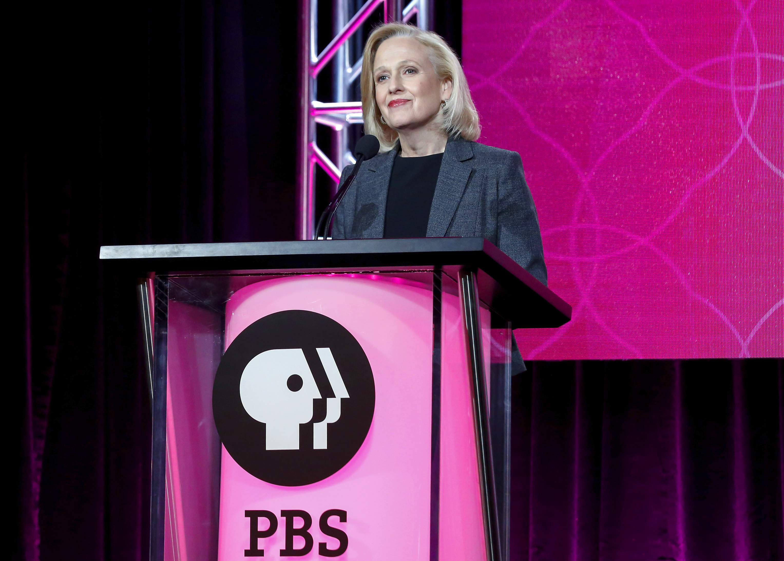 Paula Kerger speaks at the PBS's Executive Session at the 2017 Television Critics Association press tour in Pasadena, CA, on Jan. 15, 2017.