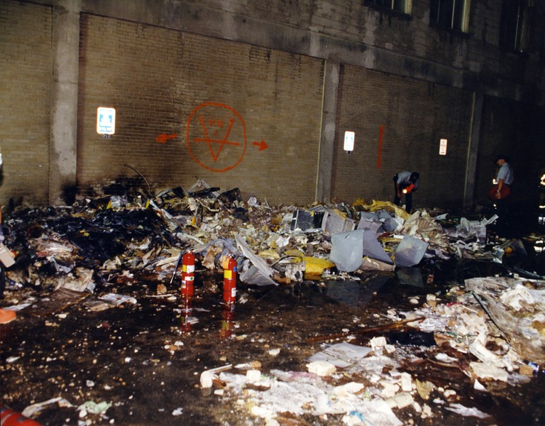 Debris left after the hijacked American Airlines Flight 77 crashed into the Pentagon in Arlington County, Virginia on Sept. 11, 2001.