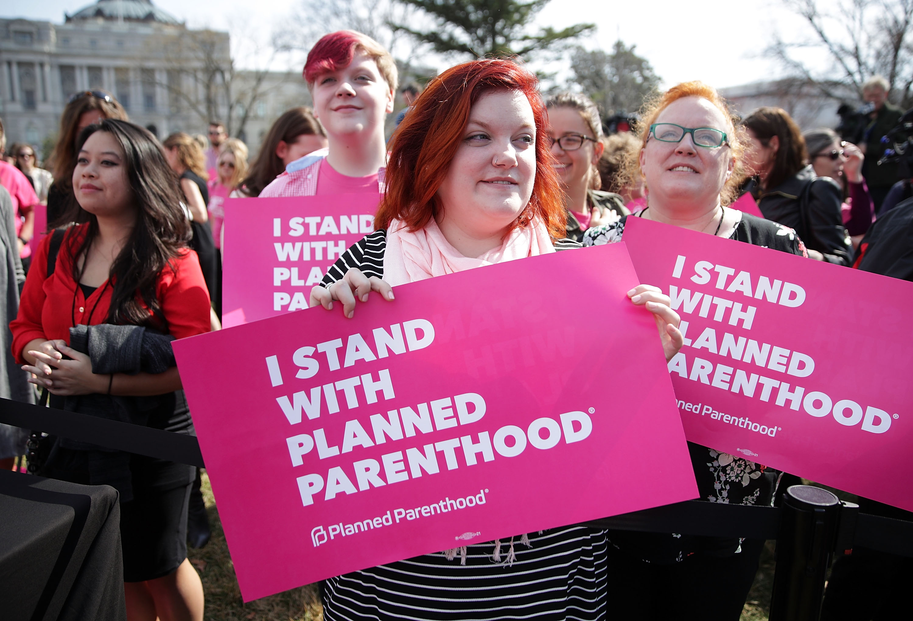 WASHINGTON, DC - MARCH 01:  Activists participate in a rally to support Planned Parenthood March 1, 2017 on Capitol Hill in Washington, DC. Planned Parenthood held a 'We Are Planned Parenthood Capitol Takeover Day' to lobby legislators not to defund the organization.  (Photo by Alex Wong/Getty Images)