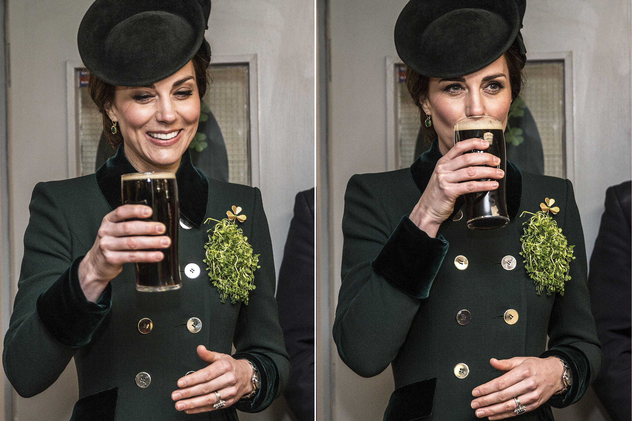 Duchess of Cambridge drinks a pint of Guinness during a meet and greet with soldiers of the 1st Battalion Irish Guards in their canteen following their St. Patrick's Day parade at Cavalry Barracks, Hounslow, on March 17, 2017.