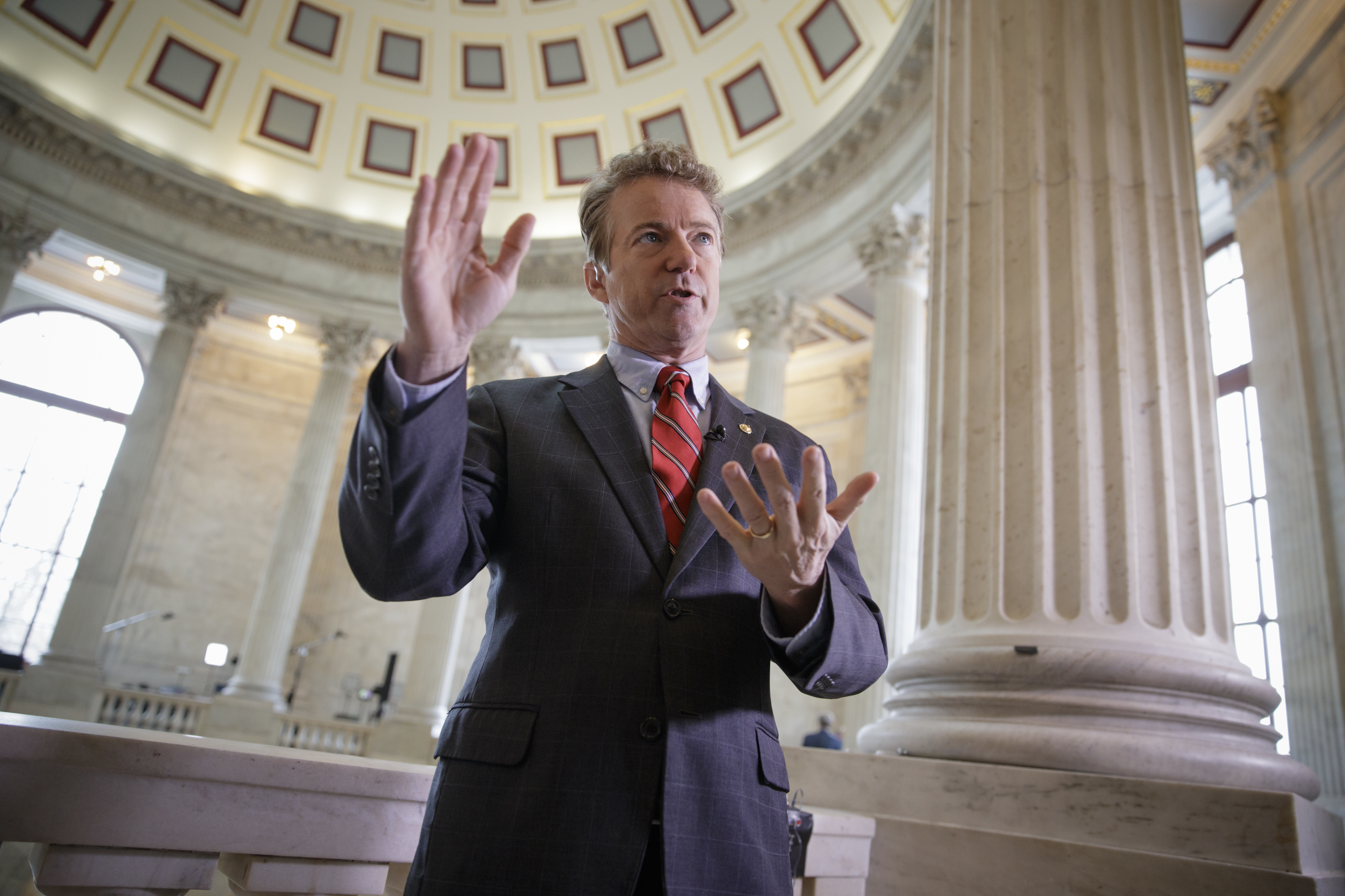 Sen. Rand Paul, R-Ky., an opponent of the House Republican healthcare reform plan, discusses the bill before a TV interview on Capitol Hill in Washington, Wednesday, March, 15, 2017.