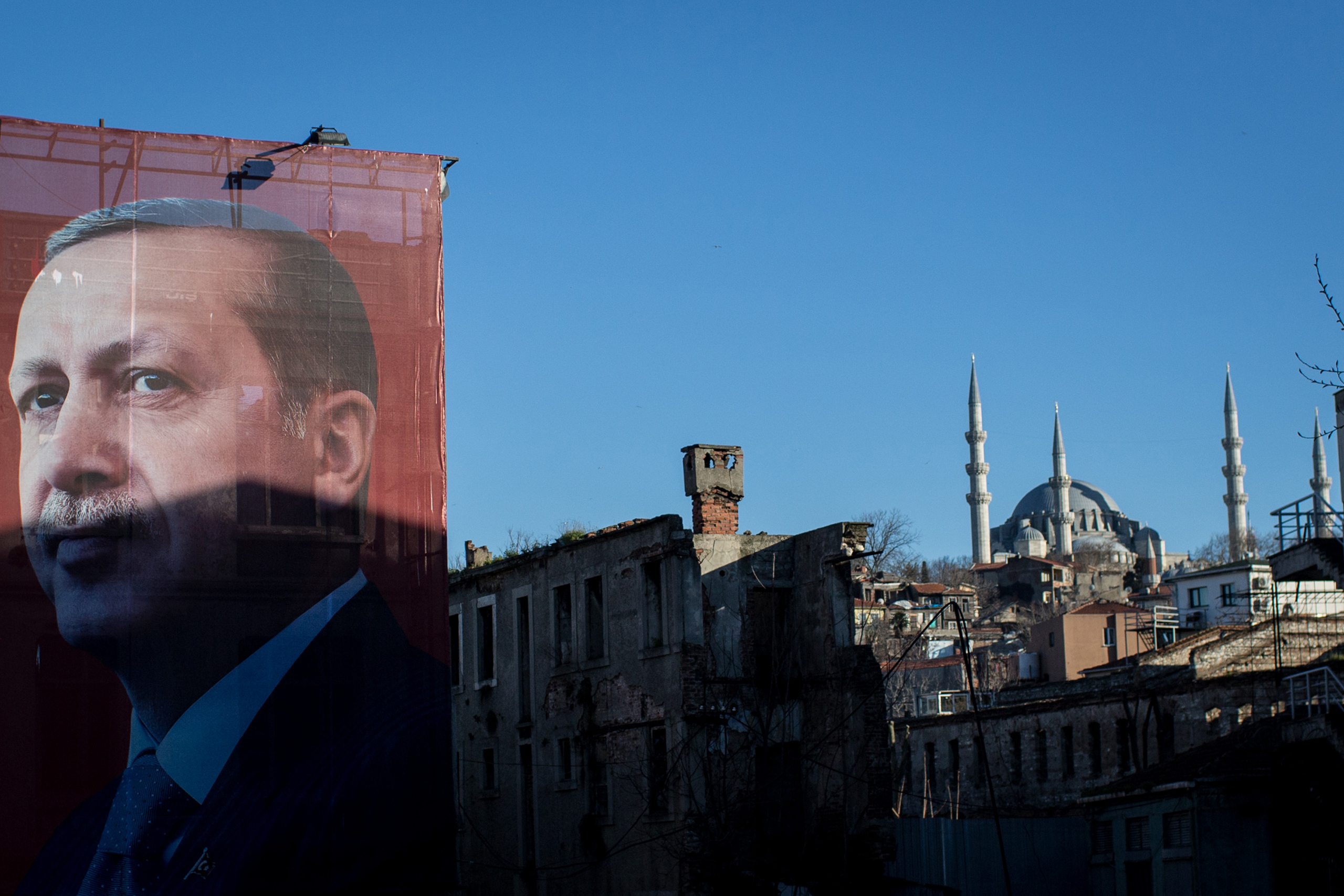 A  Yes  campaign billboard showing President Recep Tayyip Erdogan in Istanbul on March 29, 2017. Turkey holds a referendum on constitutional amendments on April 16.