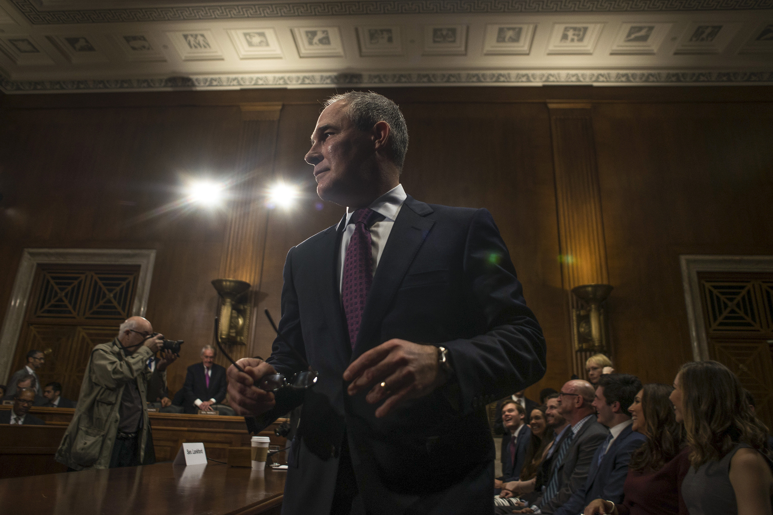 EPA chief Scott Pruitt, seen at a January confirmation hearing, has disputed a key cause of global warming.