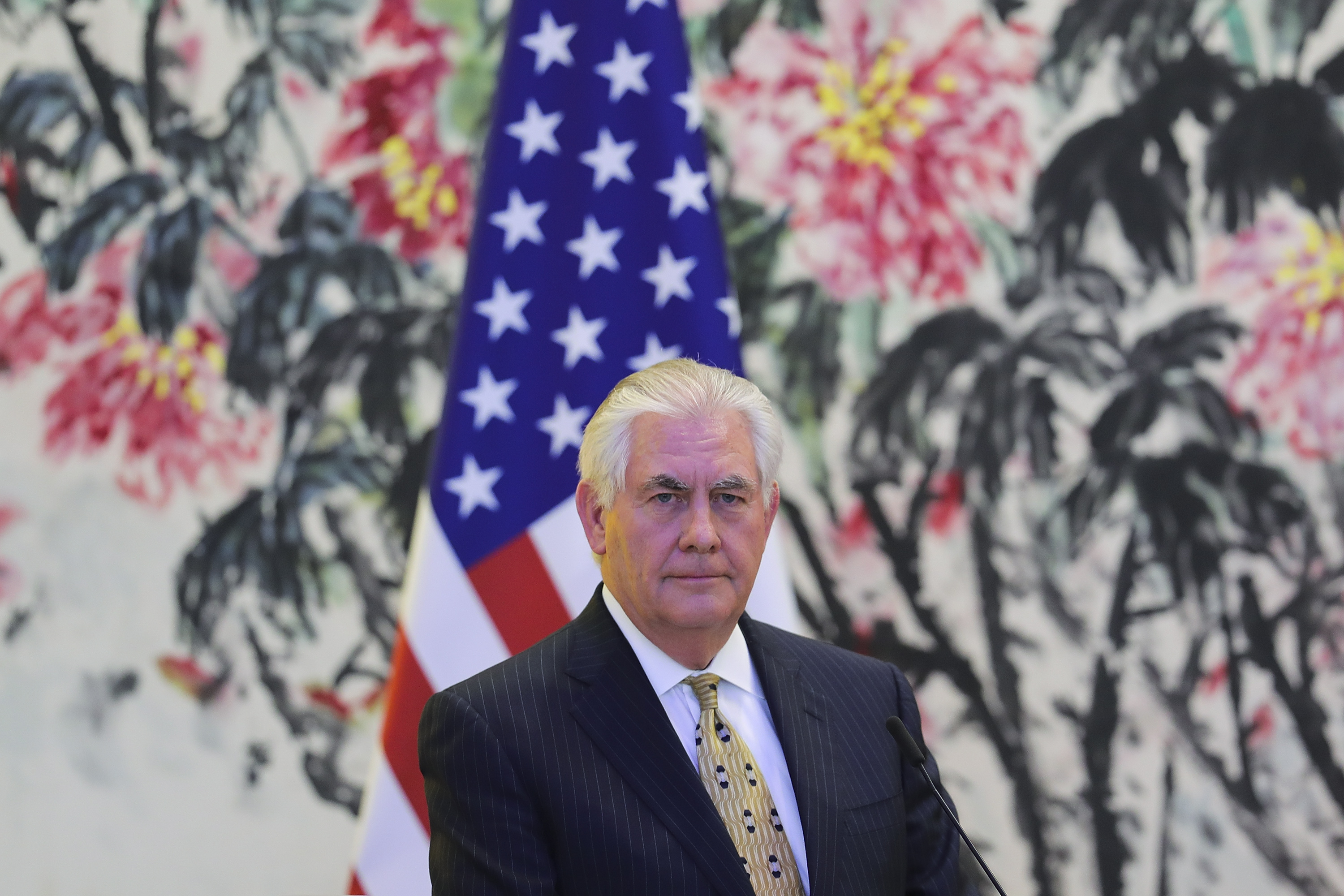 U.S. Secretary of State Rex Tillerson looks on during a joint press conference with Chinese Foreign Minister Wang Yi (not pictured) at Diaoyutai State Guesthouse on March 18, 2017 in Beijing, China. Tillerson is on his first visit to Asia as Secretary of State.