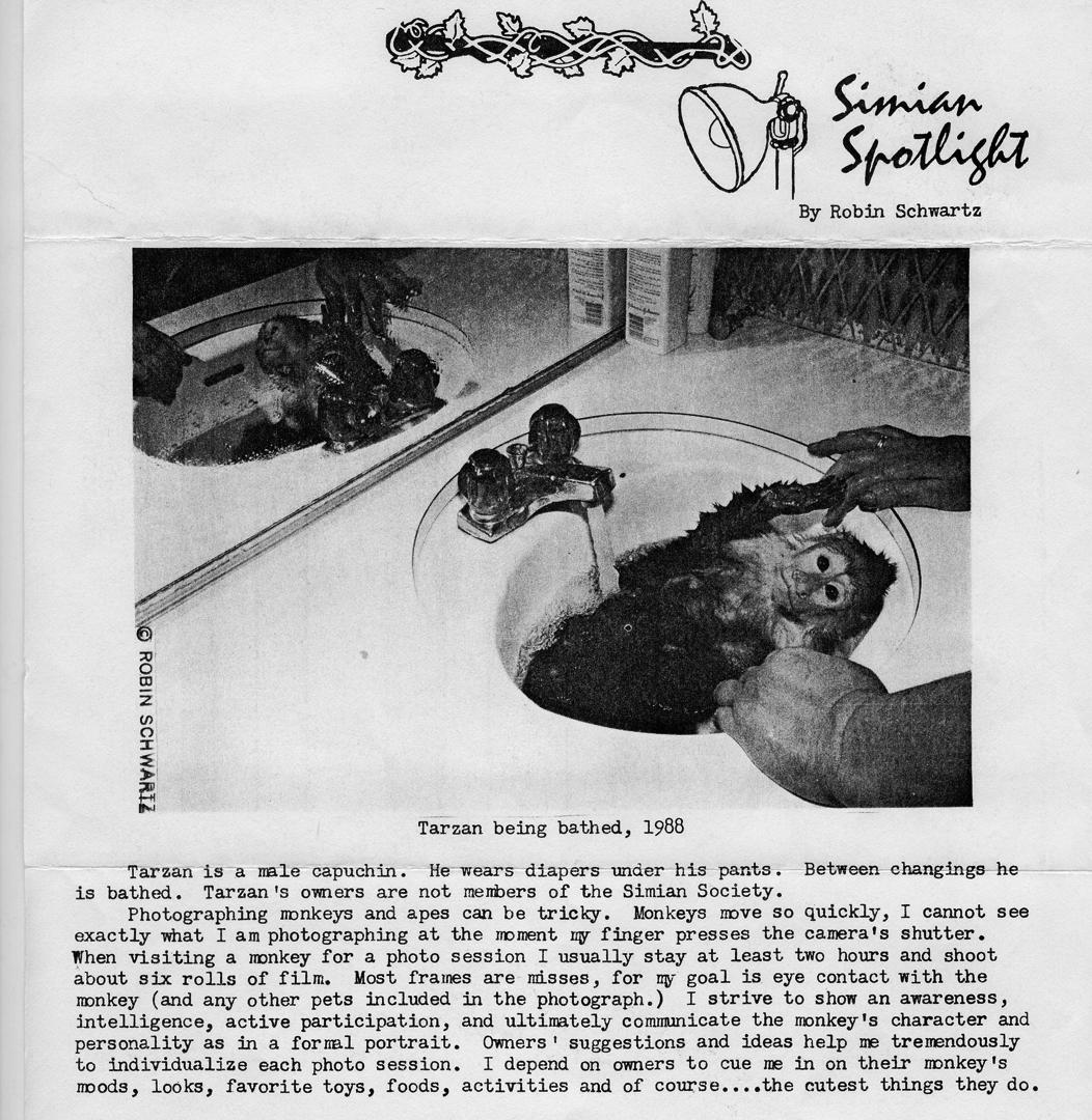 Robin Schwartz's column in the Simian Society of America newsletter.