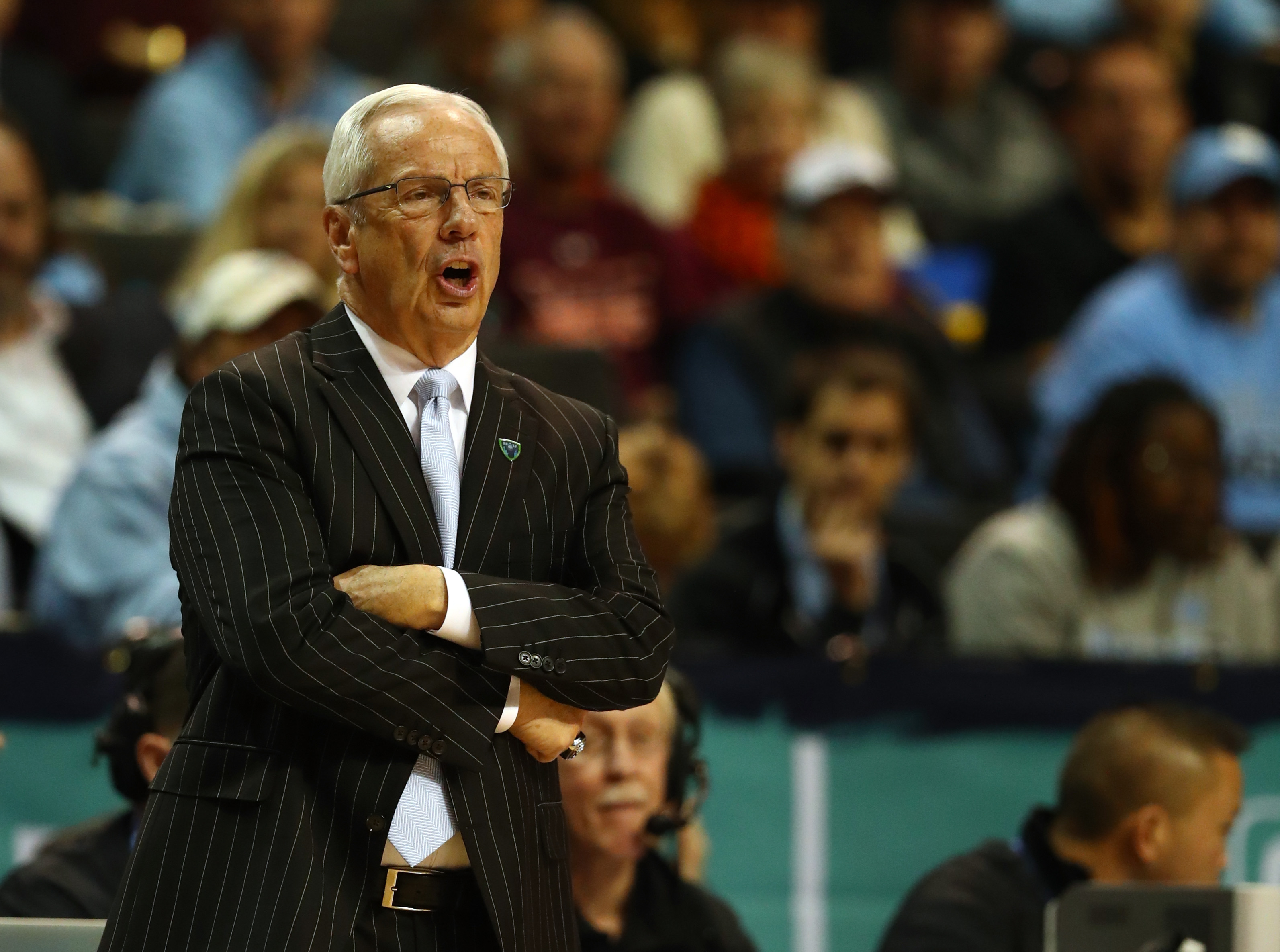 Head coach Roy Williams of the North Carolina Tar Heels in action against the Miami (Fl) Hurricanes during the Quarterfinals of the ACC Basketball Tournament  at the Barclays Center on March 9, 2017 in New York City.
