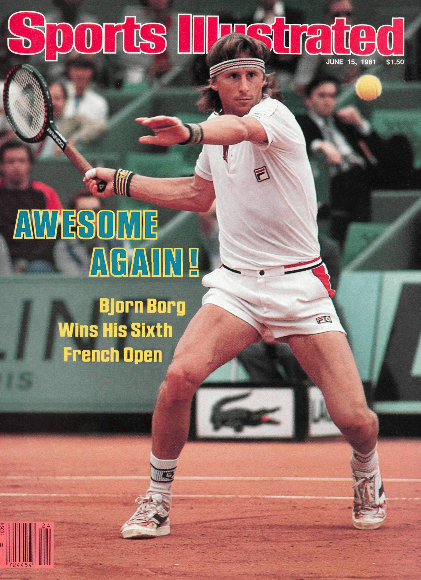 June 15, 1981 Sports Illustrated Cover. Sweden Bjorn Borg in action during match at Stade Roland Garros. Paris, France. Photo by Russ Adams.