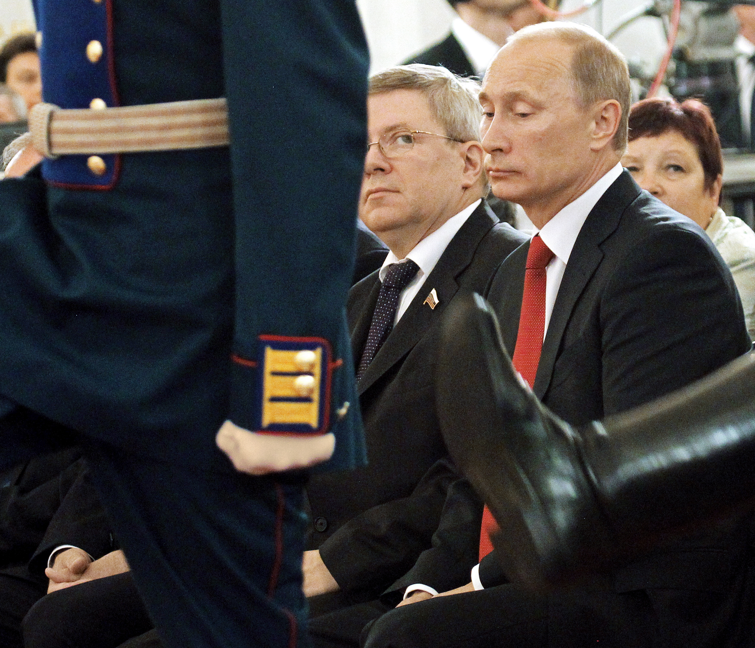 Former Russian senator Alexander Torshin, center, with Vladimir Putin at a Kremlin ceremony in 2011