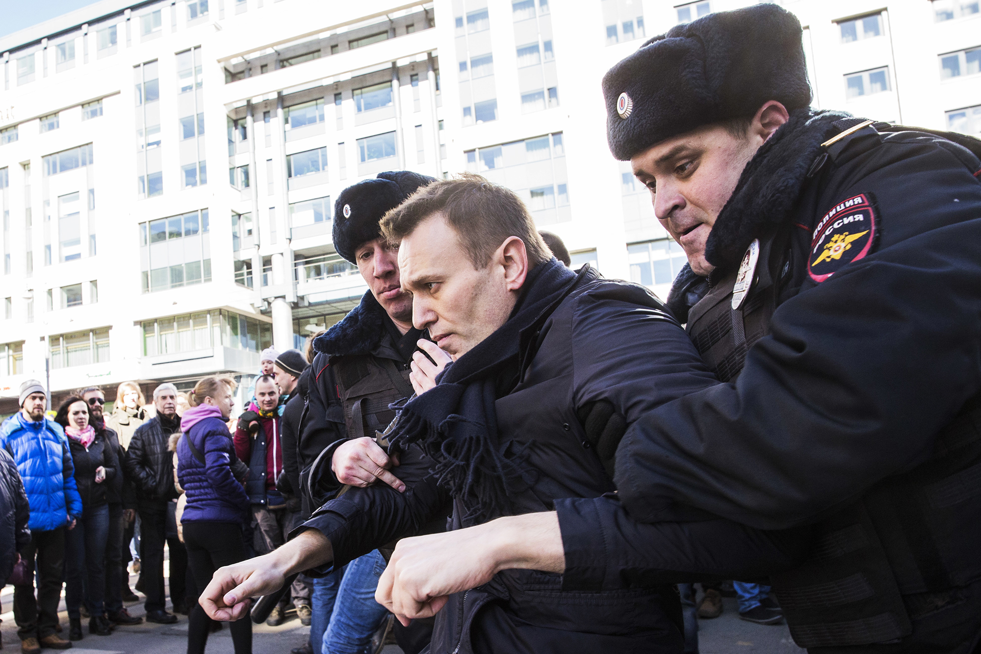 Alexei Navalny is detained by police in downtown Moscow, Russia, on March 26, 2017.