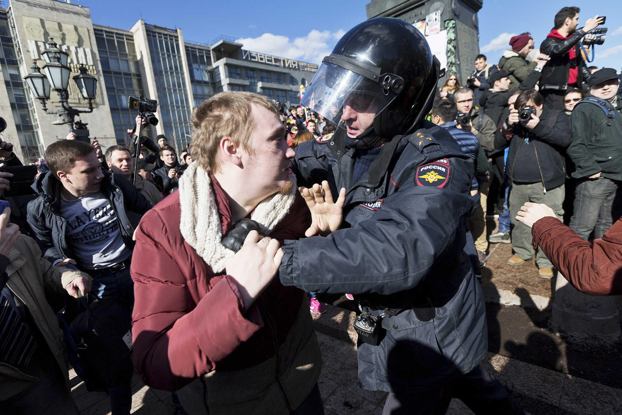 A police officer detains a protester in Moscow, Russia, on March 26, 2017.