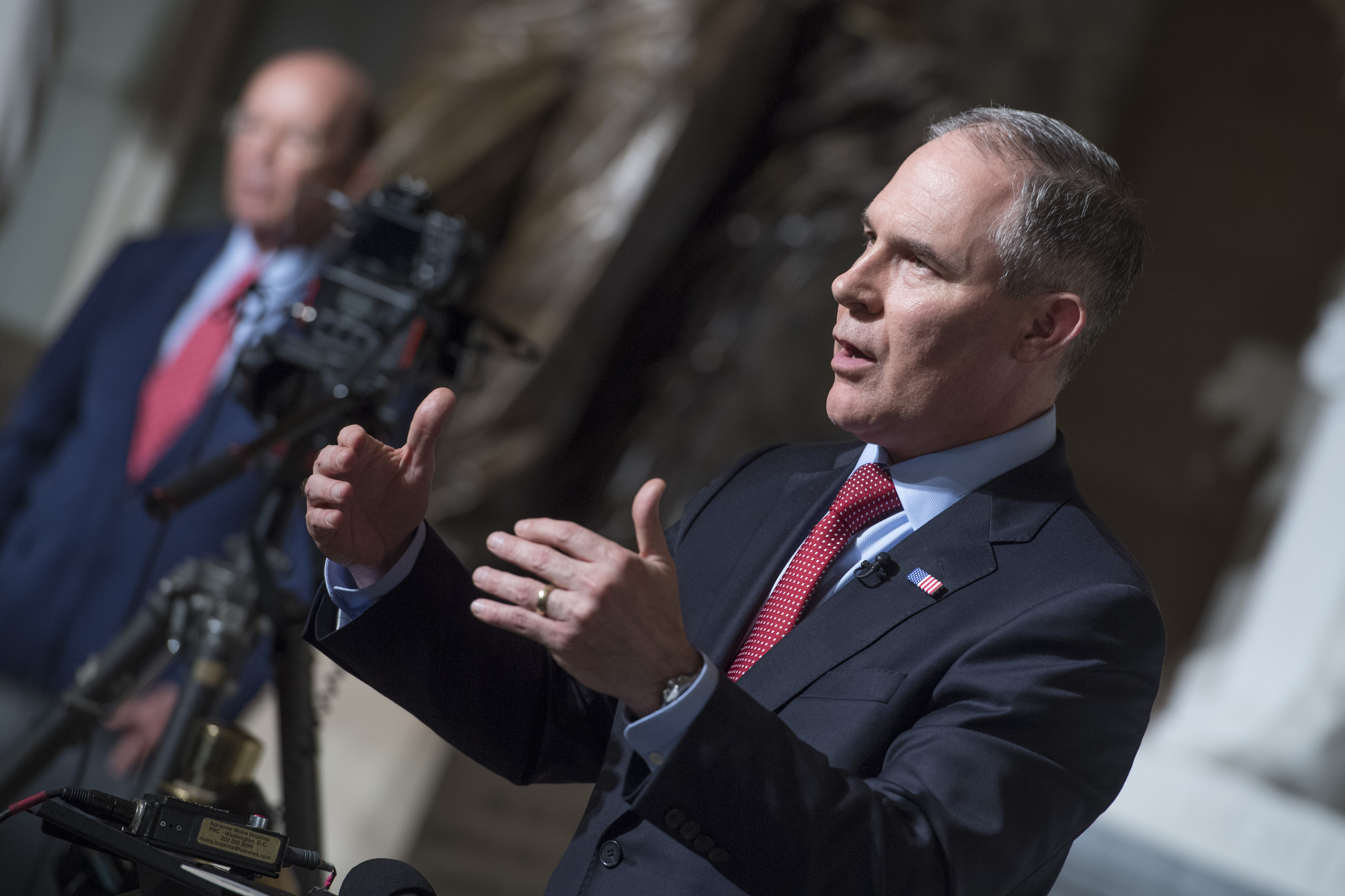 Scott Pruitt, administrator of the Environmental Protection Agency, is interviewed in Statuary Hall before President Donald Trump addressed a joint session of Congress on Feb 28