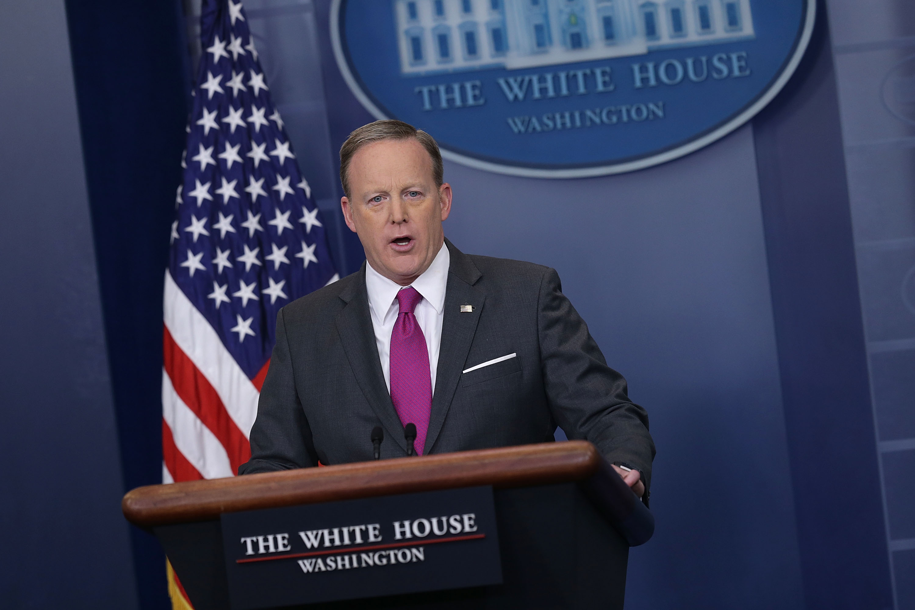 White House Press Secretary Sean Spicer speaks during the daily White House press briefing at the James Brady Press Briefing Room of the White House on March 9, 2017 in Washington, D.C.