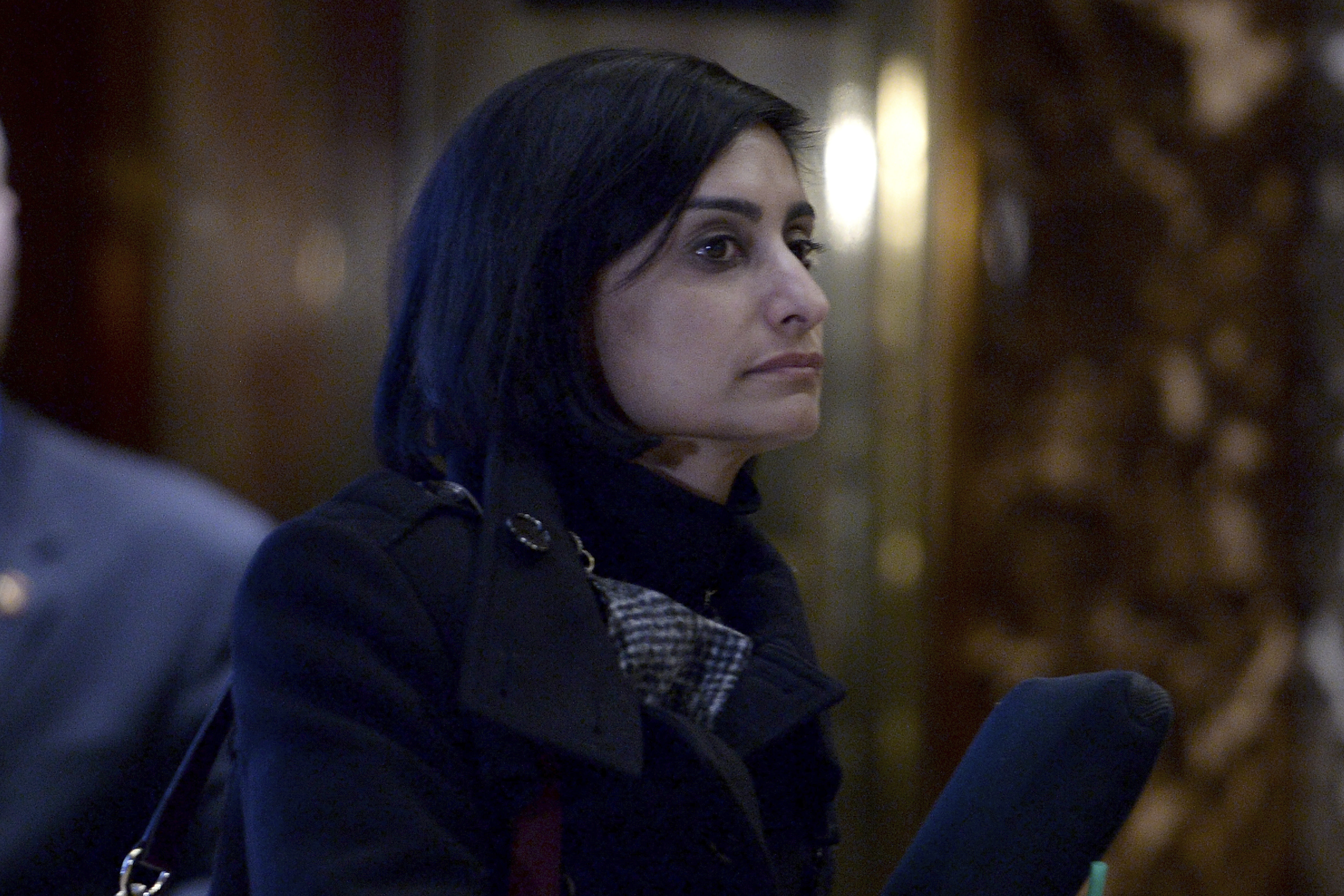 Seems Verma, president's choice for Centers for Medicare and Medicaid Services administrator, is seen waiting for the elevator in the lobby of the Trump Tower in New York on Jan. 10, 2017.
