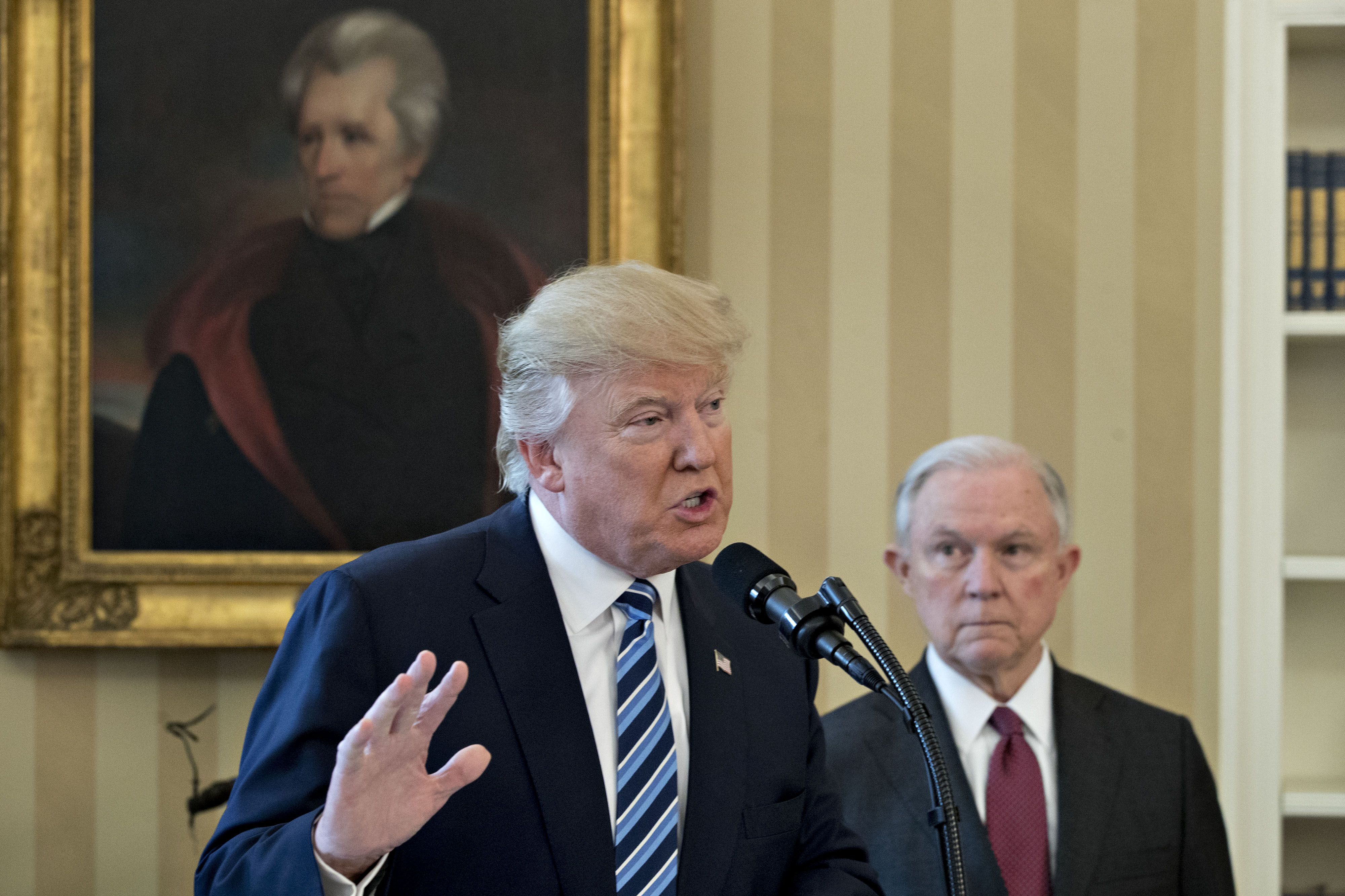 President Trump speaks as Jeff Sessions listens in the Oval Office of the White House in Washington, on Feb. 9, 2017.