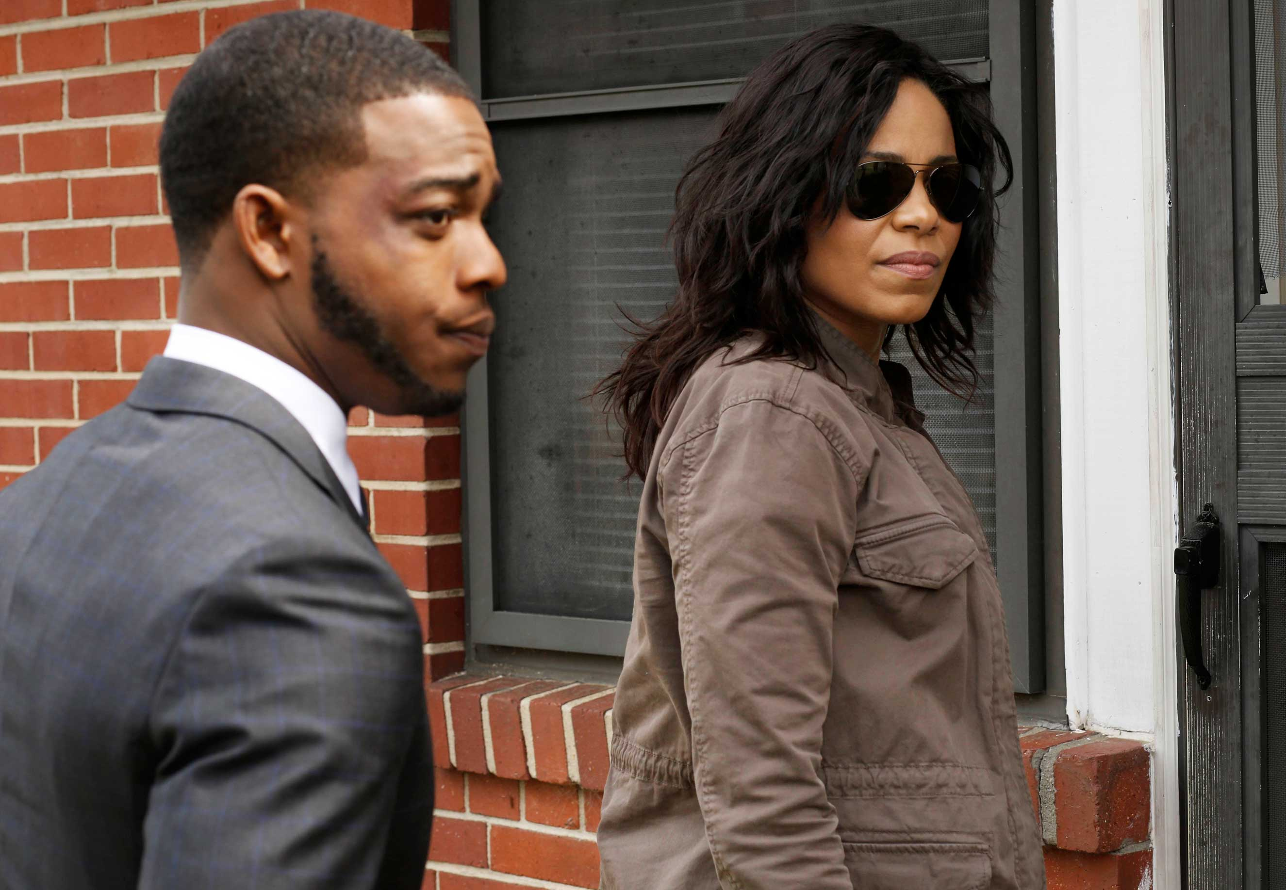 (L-R) Stephan James and Sanaa Lathan in SHOTS FIRED