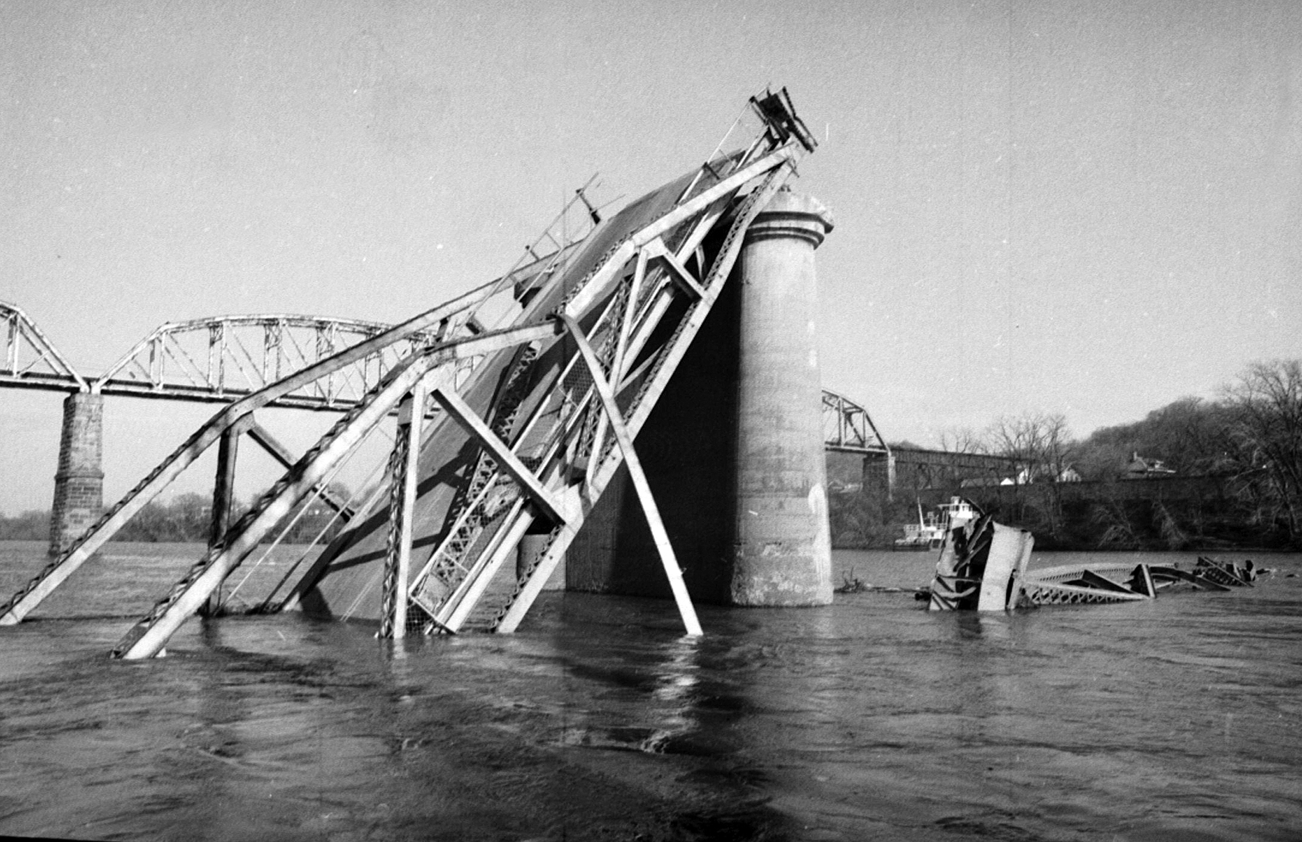 Wreckage from the Silver Bridge collapse at Point Pleasant, W.Va.