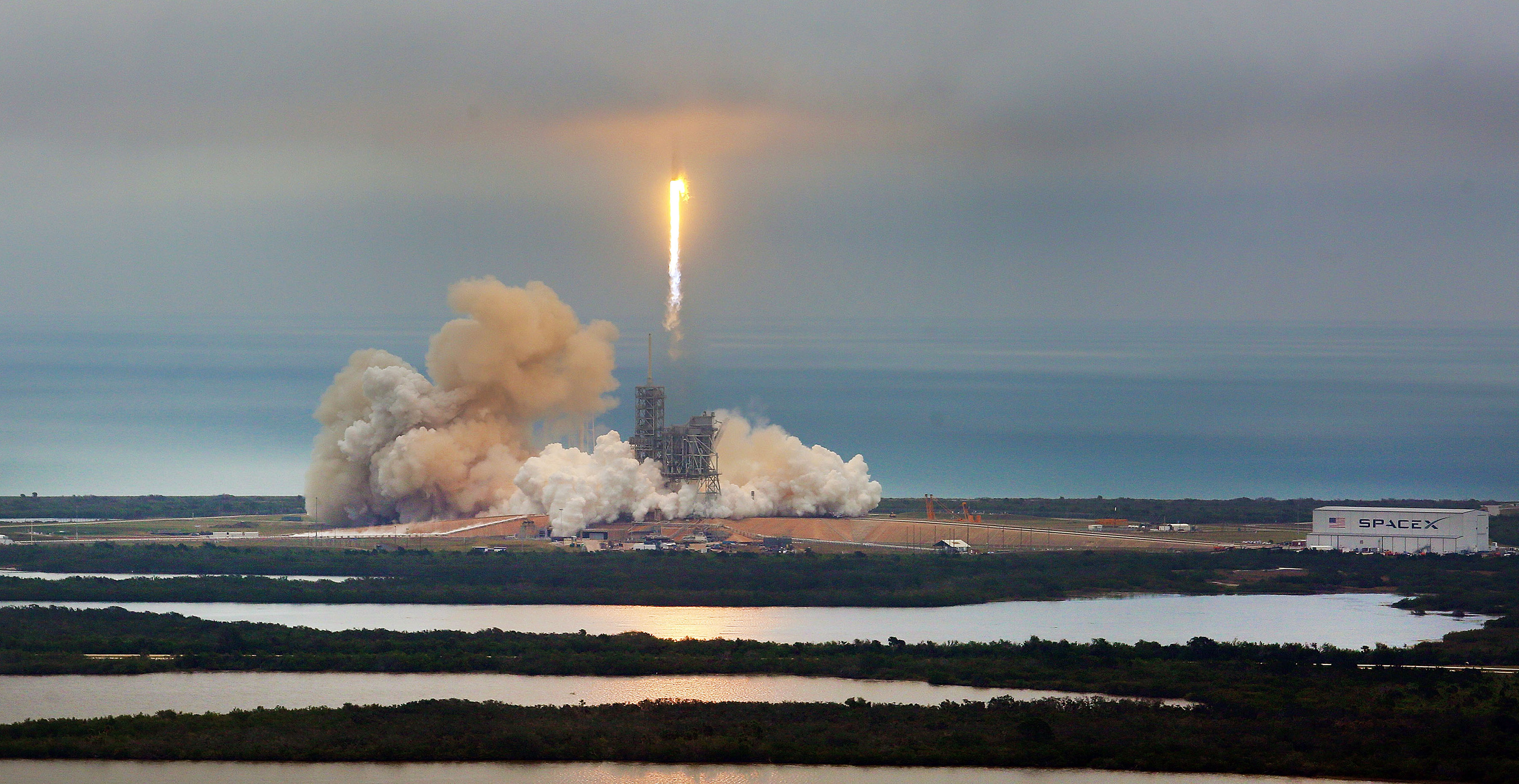 A SpaceX Falcon9 rocket blasts off Sunday, Feb. 19, 2017 from the Kennedy Space Center.