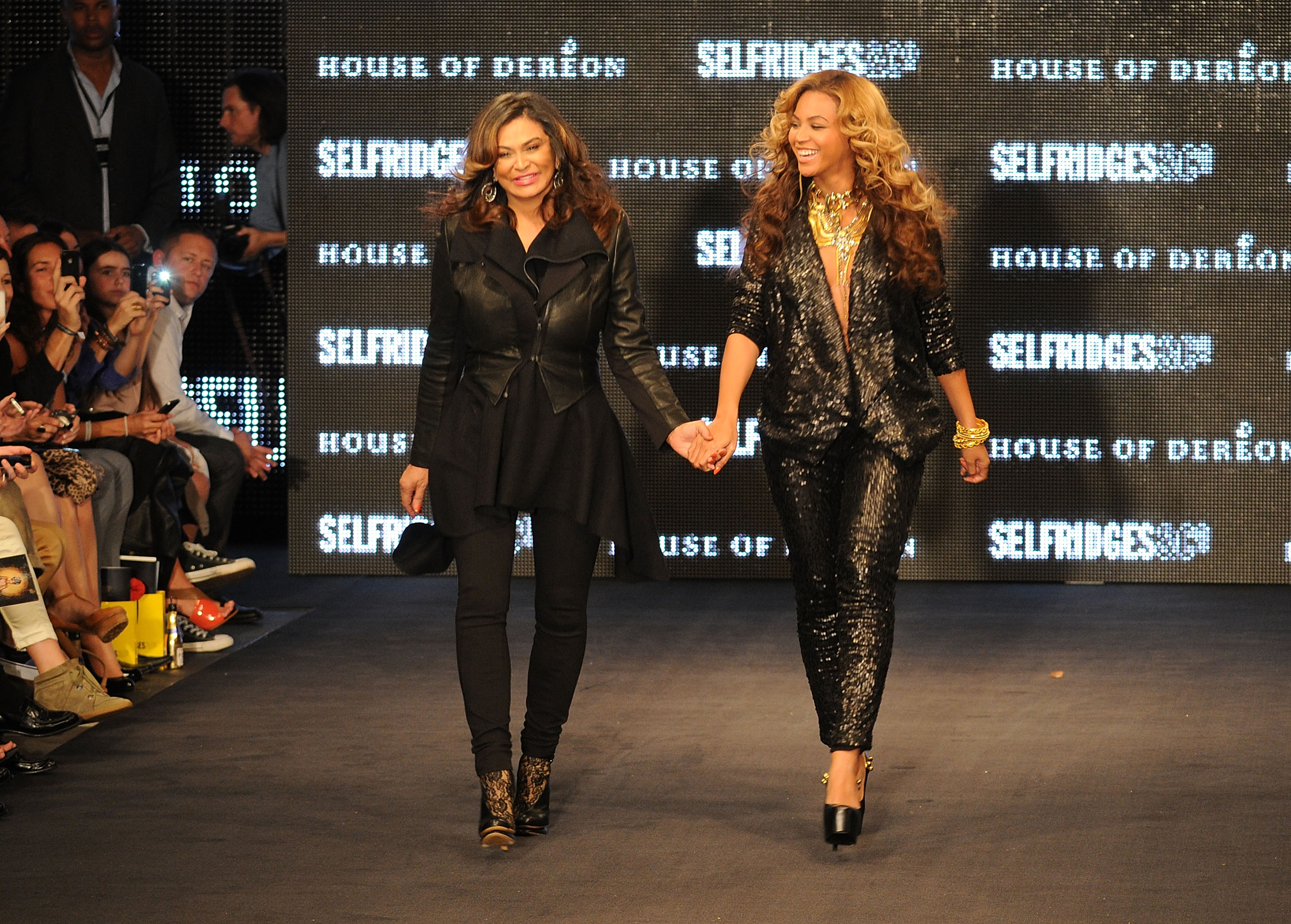 LONDON, ENGLAND - SEPTEMBER 17:  Tina Knowles and Beyonce Knowles at The Launch Of House Of Dereon By Beyonce And Tina Knowles at Selfridges on September 17, 2011 in London, England.  (Photo by Eamonn McCormack/Getty Images)