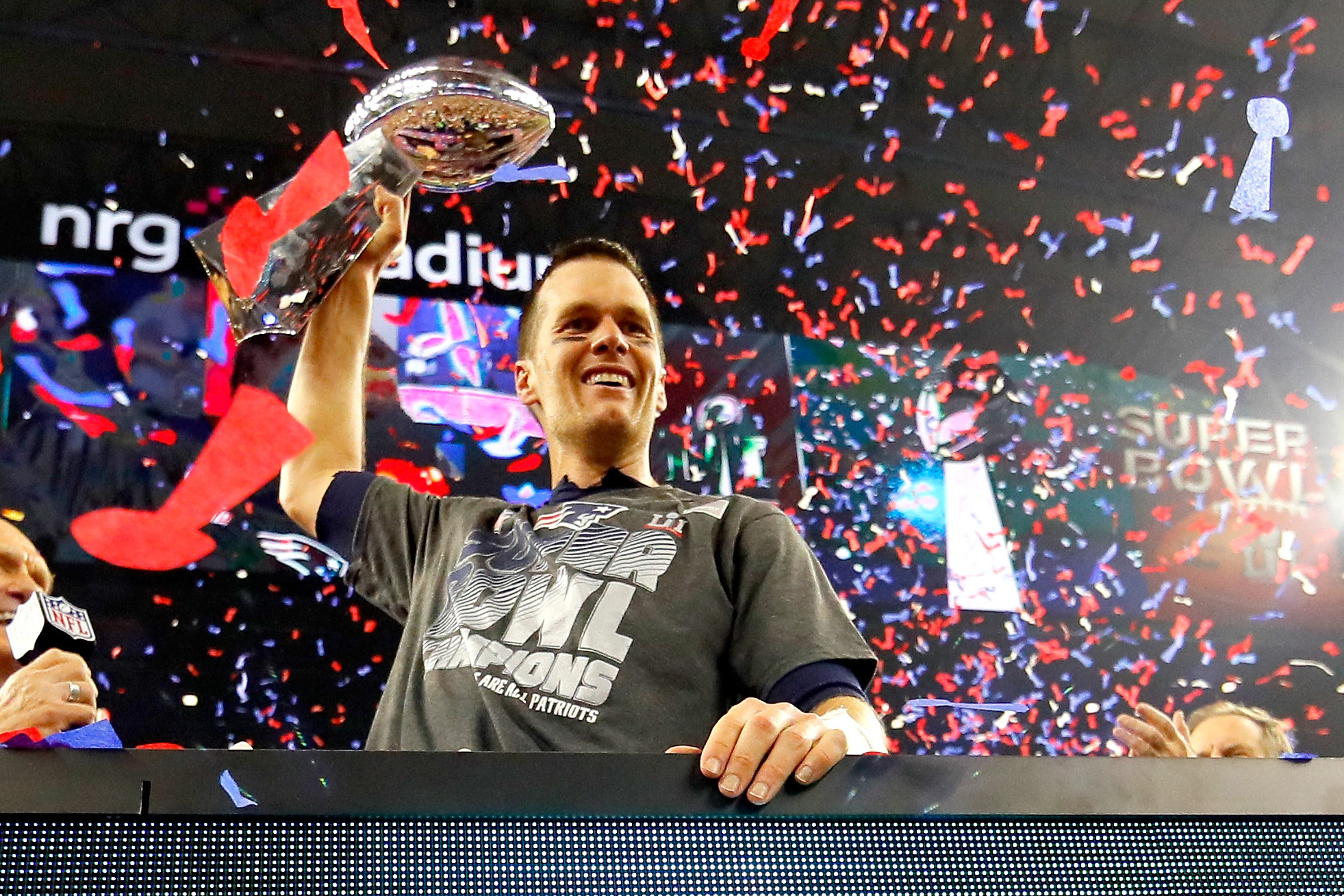 Tom Brady #12 of the New England Patriots celebrates with the Vince Lombardi Trophy after defeating the Atlanta Falcons during Super Bowl 51 at NRG Stadium on February 5, 2017 in Houston, Texas.