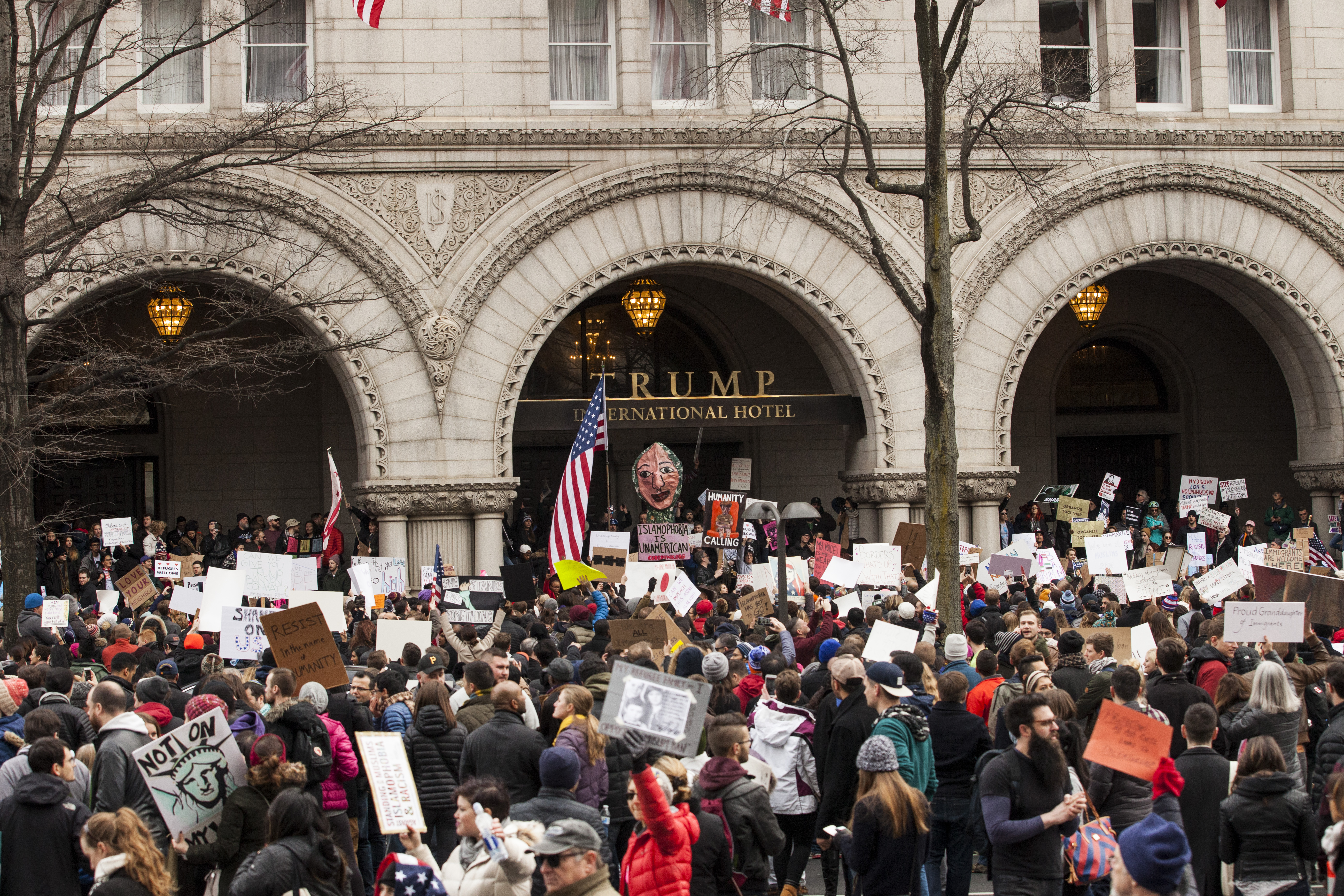 The Trump hotel in Washington, D.C., has become a magnet for protests--and bad reviews at online rating sites.