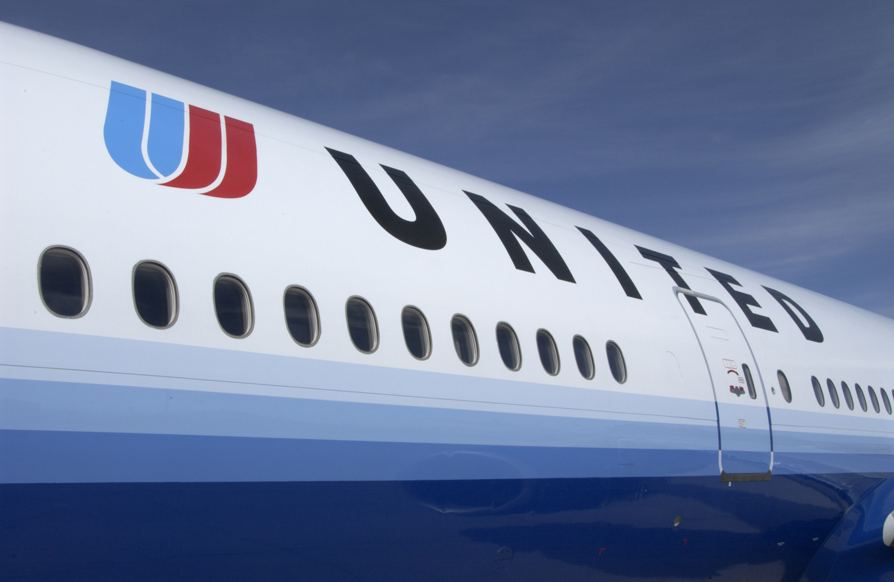 A newly painted United Airlines jet is seen in this UAL handout photograph from its corporate headquarters February 19, 2004 in Elk Grove Village, Illinois.