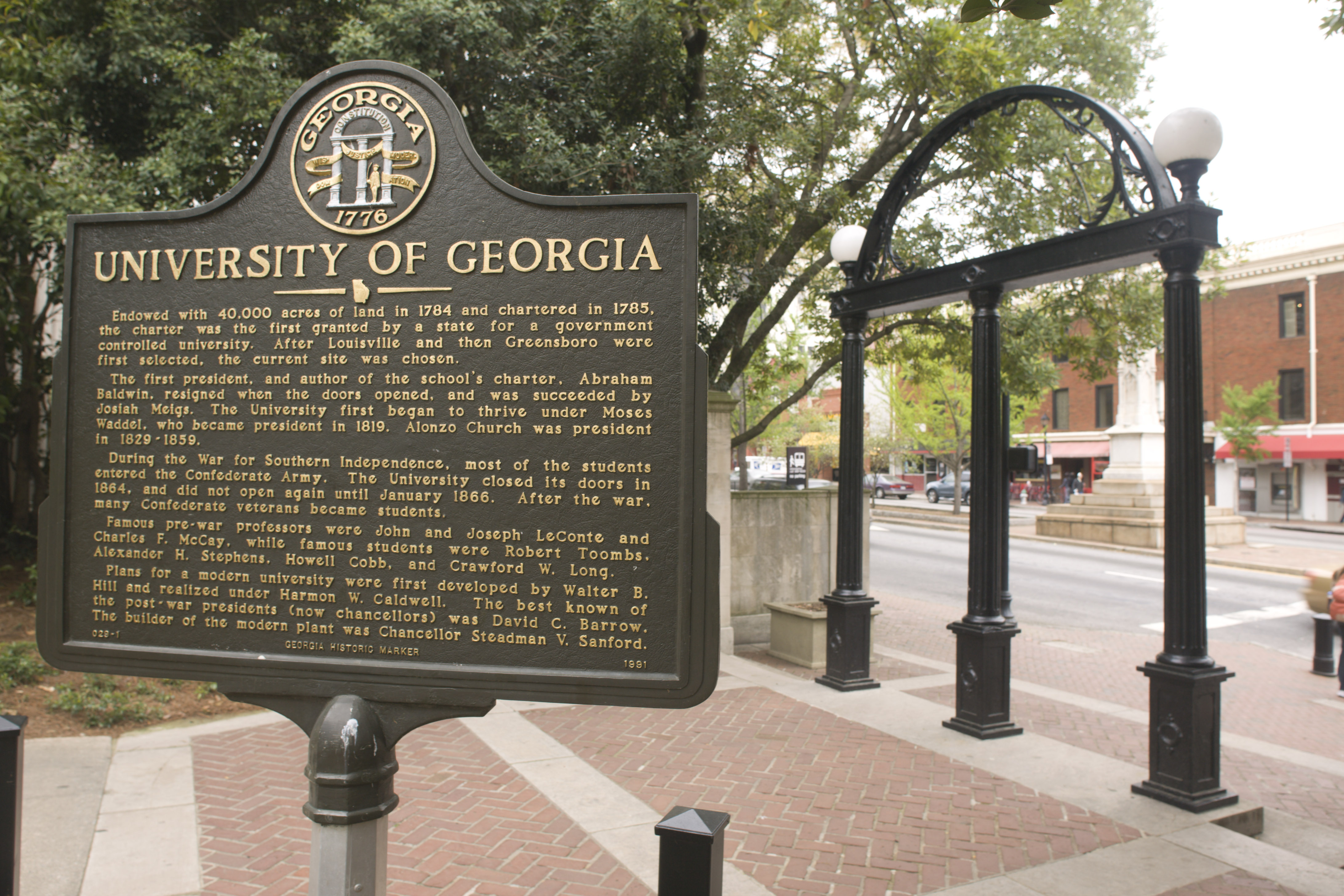 Close-up view of the Georgia Arch on the University of Georgia Bulldogs campus in Athens, Georgia.
