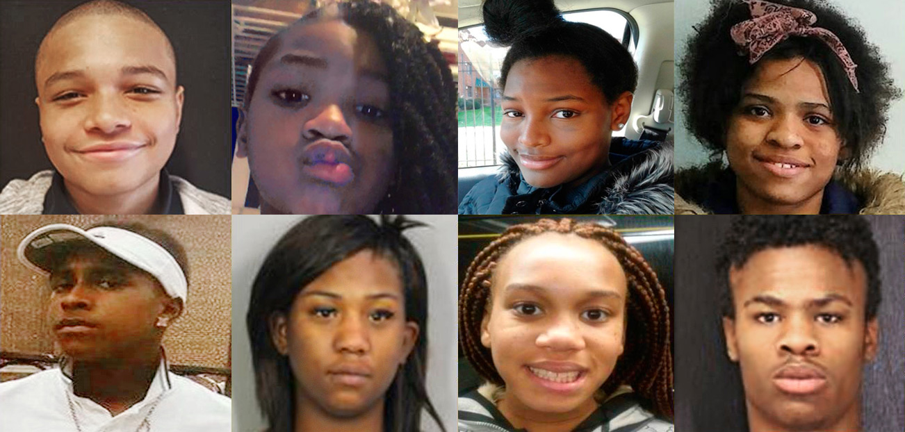 Photos of missing kids and teens, two of whom remain unfound, released by the D.C. police department.