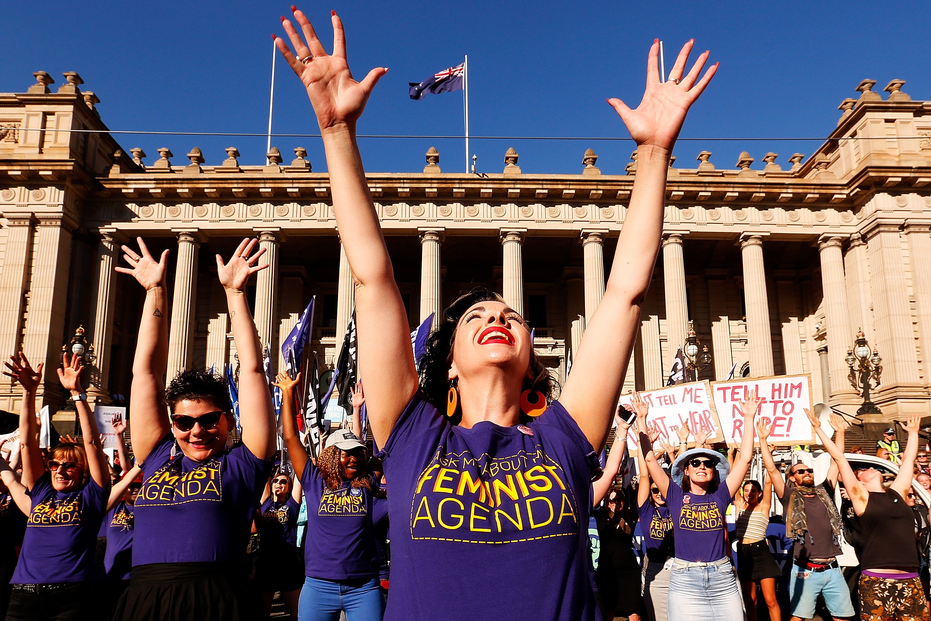 MELBOURNE, AUSTRALIA - MARCH 08:  Thousands of demonstrators attend a Rally for International Women's Day on March 8, 2017 in Melbourne, Australia.  Marchers were calling for de-conolisation of Australia, an end to racism, economic justice for all women and reproductive justice, as well as supporting the struggle for the liberation of all women around the world, inclusive of trans women and sex workers.  (Photo by Daniel Pockett/Getty Images)