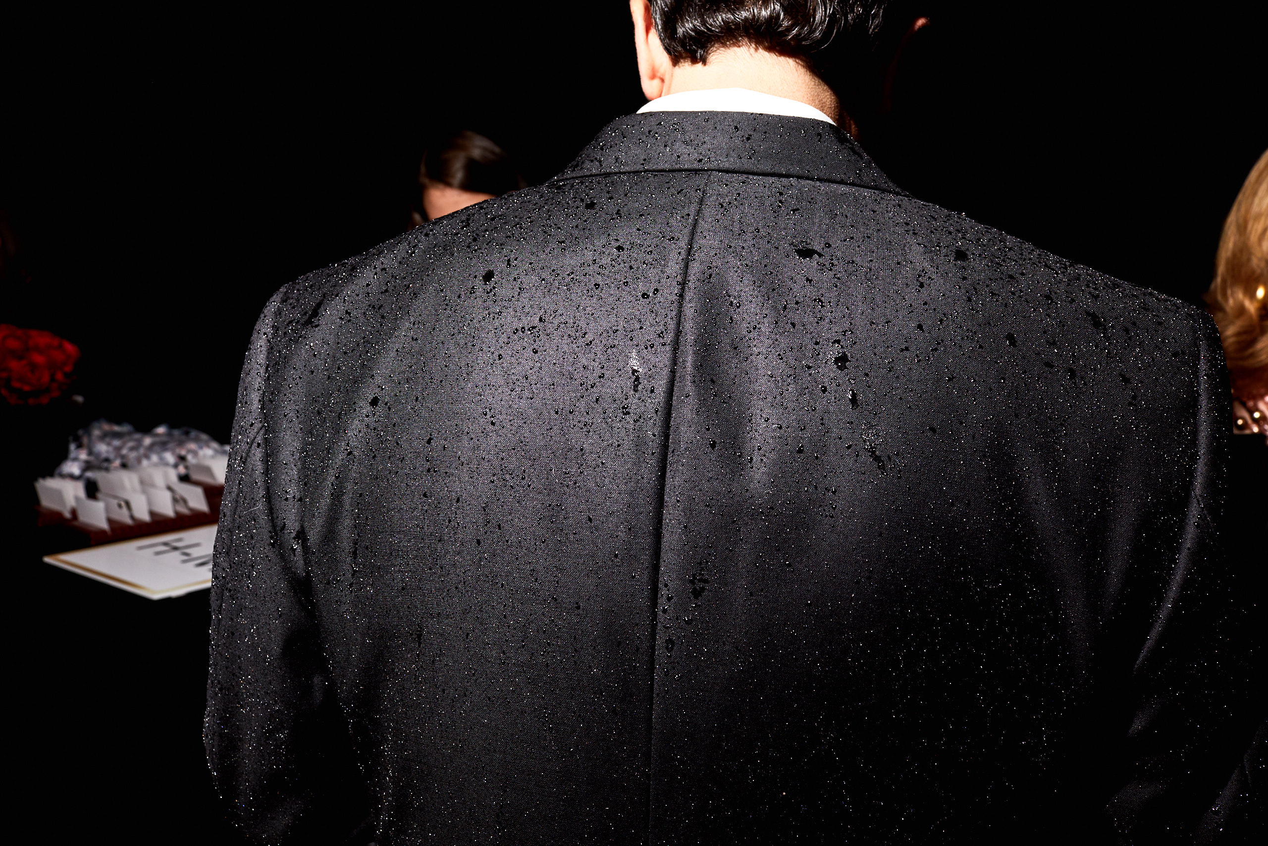 Rain on a guest's coat at the Time 100 Gala at Jazz at Lincoln Center on April 25, 2017 in New York City.
