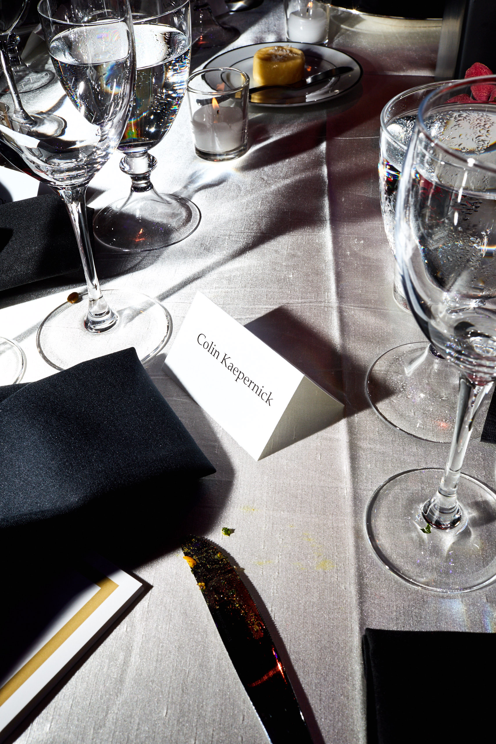 Colin Kapernick's table setting at the Time 100 Gala at Jazz at Lincoln Center on April 25, 2017 in New York City.