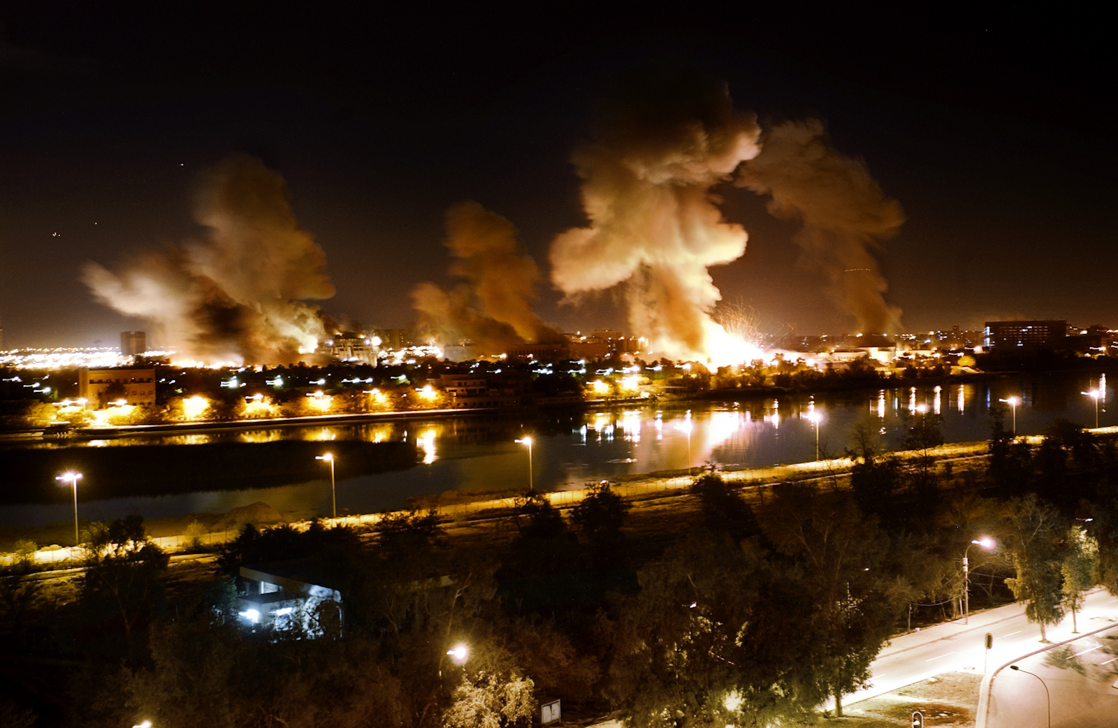 An explosion rocks a building in the palace complex of Saddam Hussein, during the U.S. 'Shock and Awe' air raids which marked the beginning of the occupation in Baghdad, Iraq, April 21, 2003. The complex on the banks of the Tigris later became what is now known as the Green Zone and houses both the Iraqi legislation as well as key U.S. installations.