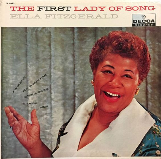 LP cover First Lady of Song, c. 1955: Contains a selection of Fitzgerald's recordings for Decca Records from 1947-55.