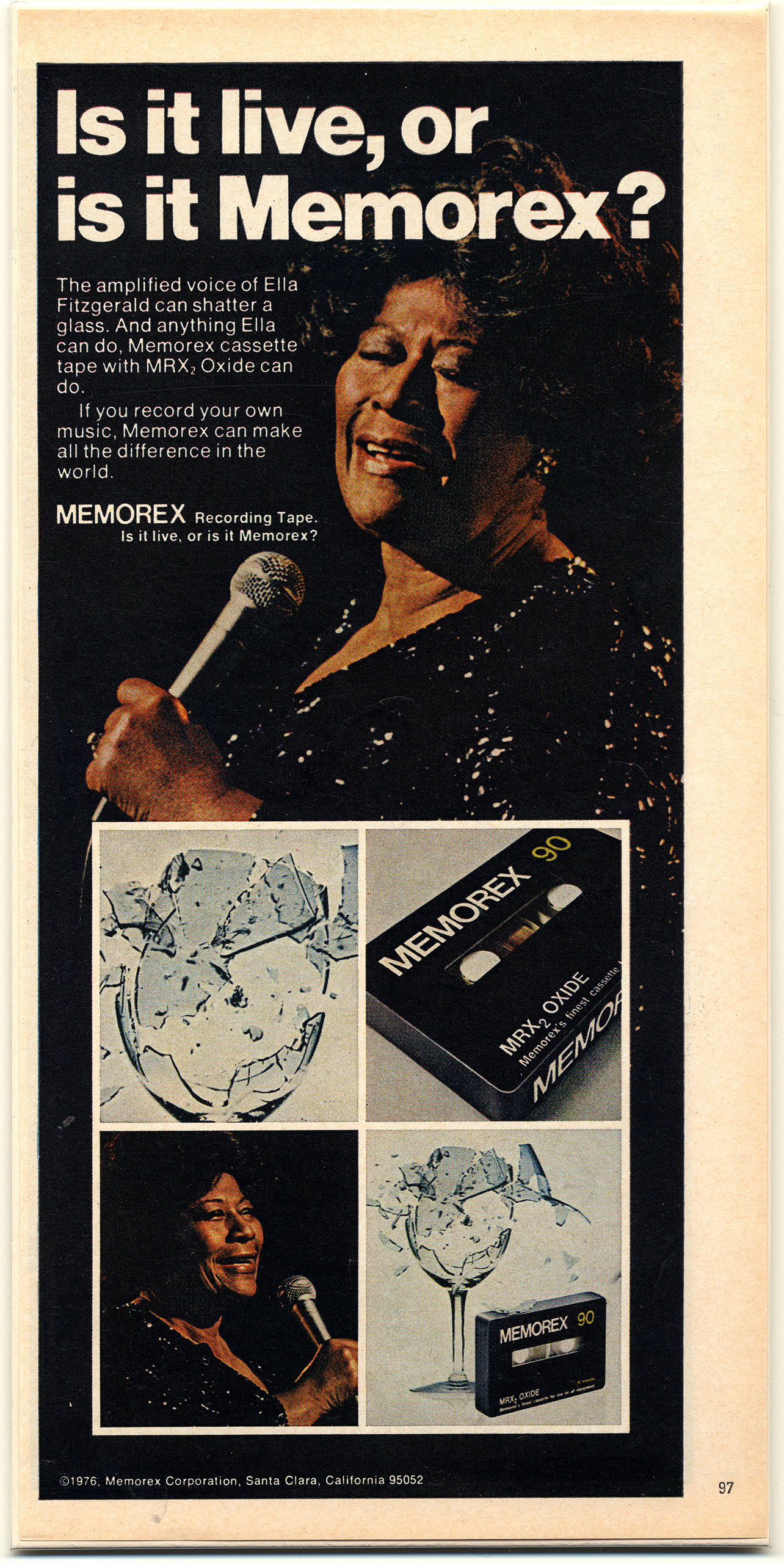 Magazine Advertisements circa 1975-76. In demand as a celebrity, Fitzgerald promoted Memorex recording tape