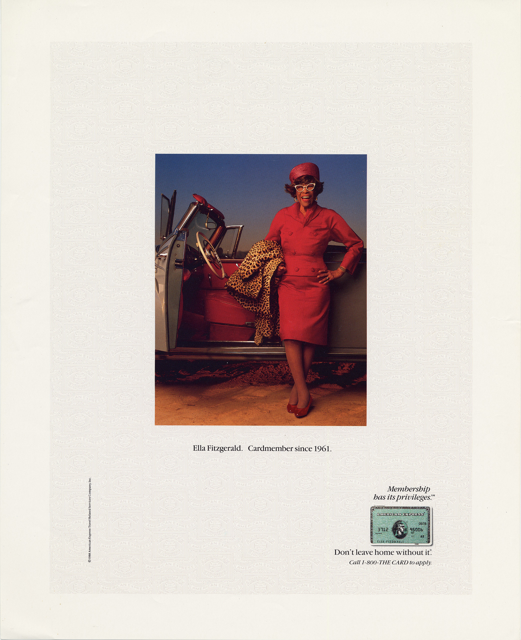 Magazine Advertisements circa 1988. In demand as a celebrity, Fitzgerald promoted the American Express card.