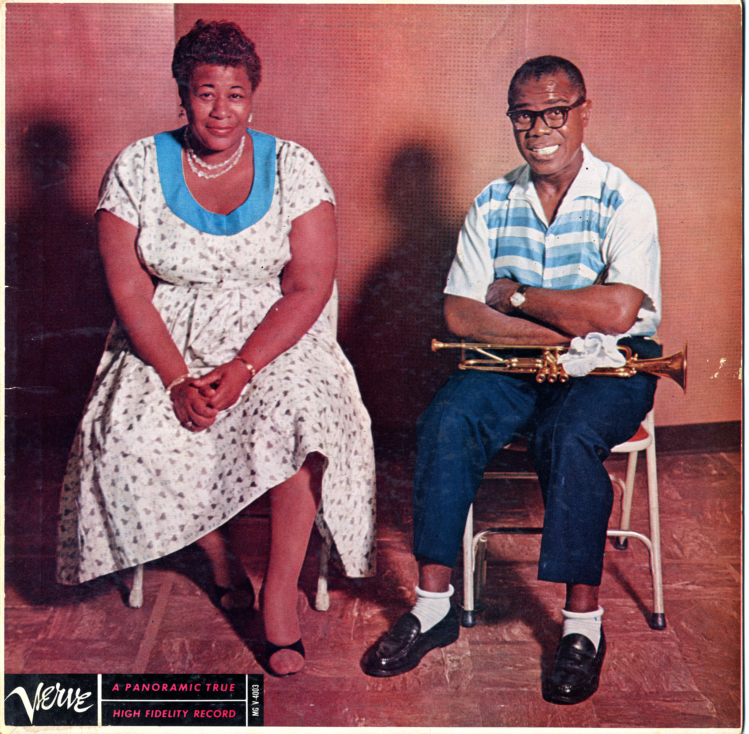 LP cover Ella and Louis, c. 1956: Ella and Louis was the first of several collaborative albums recorded by Fitzgerald and Louis Armstrong.
