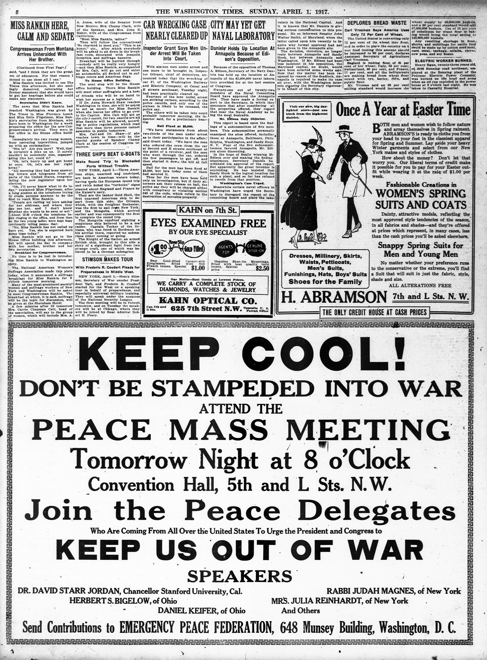 Washington Time  Keep Cool  peace ad from April 1917.