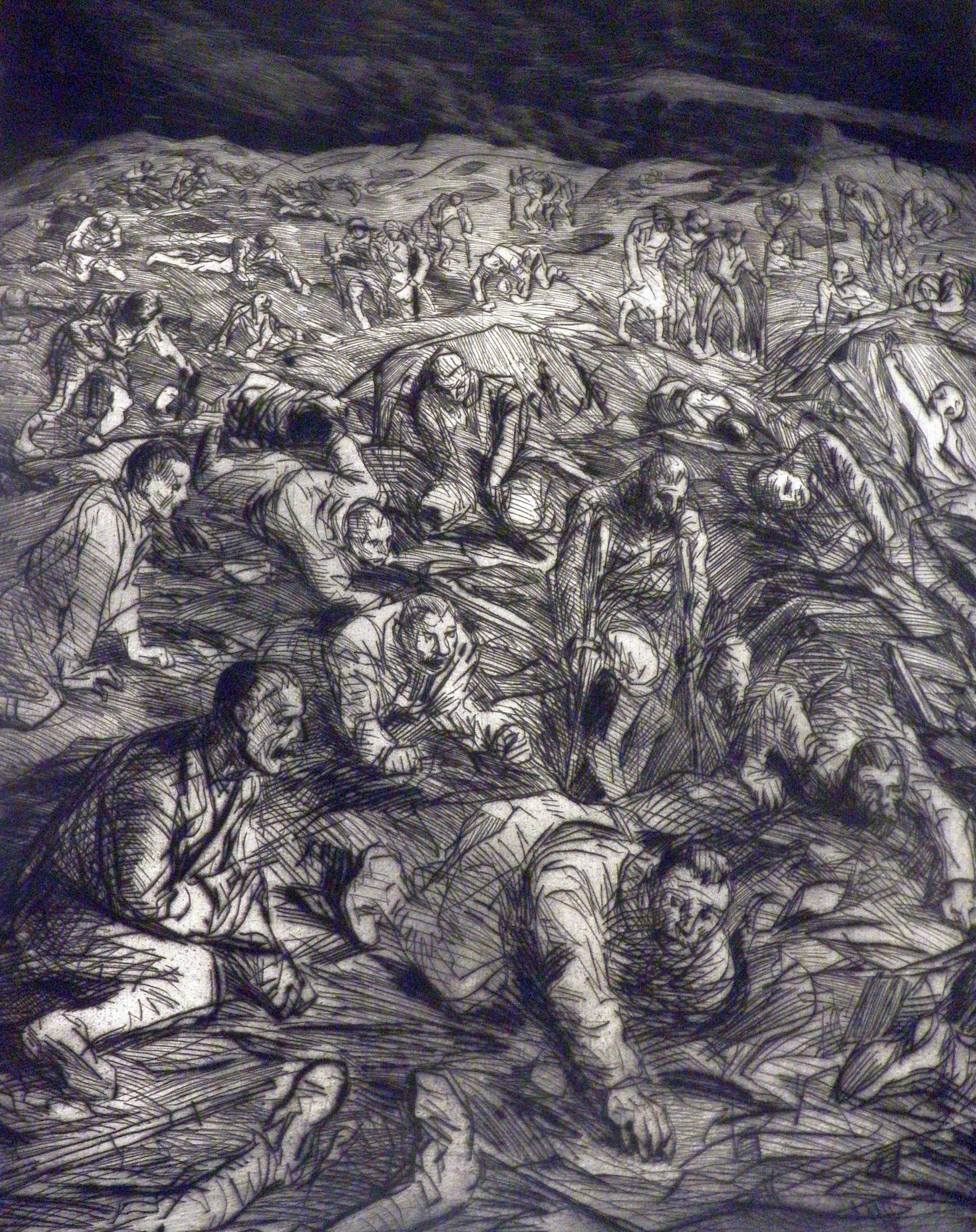 Steinlen etching: La nuit a Souchez.